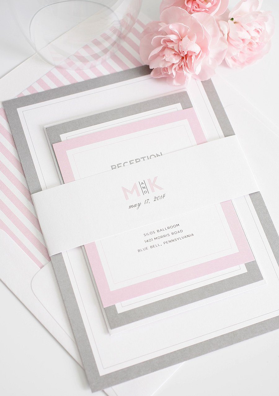 Gray and Pink Modern Wedding Invitations