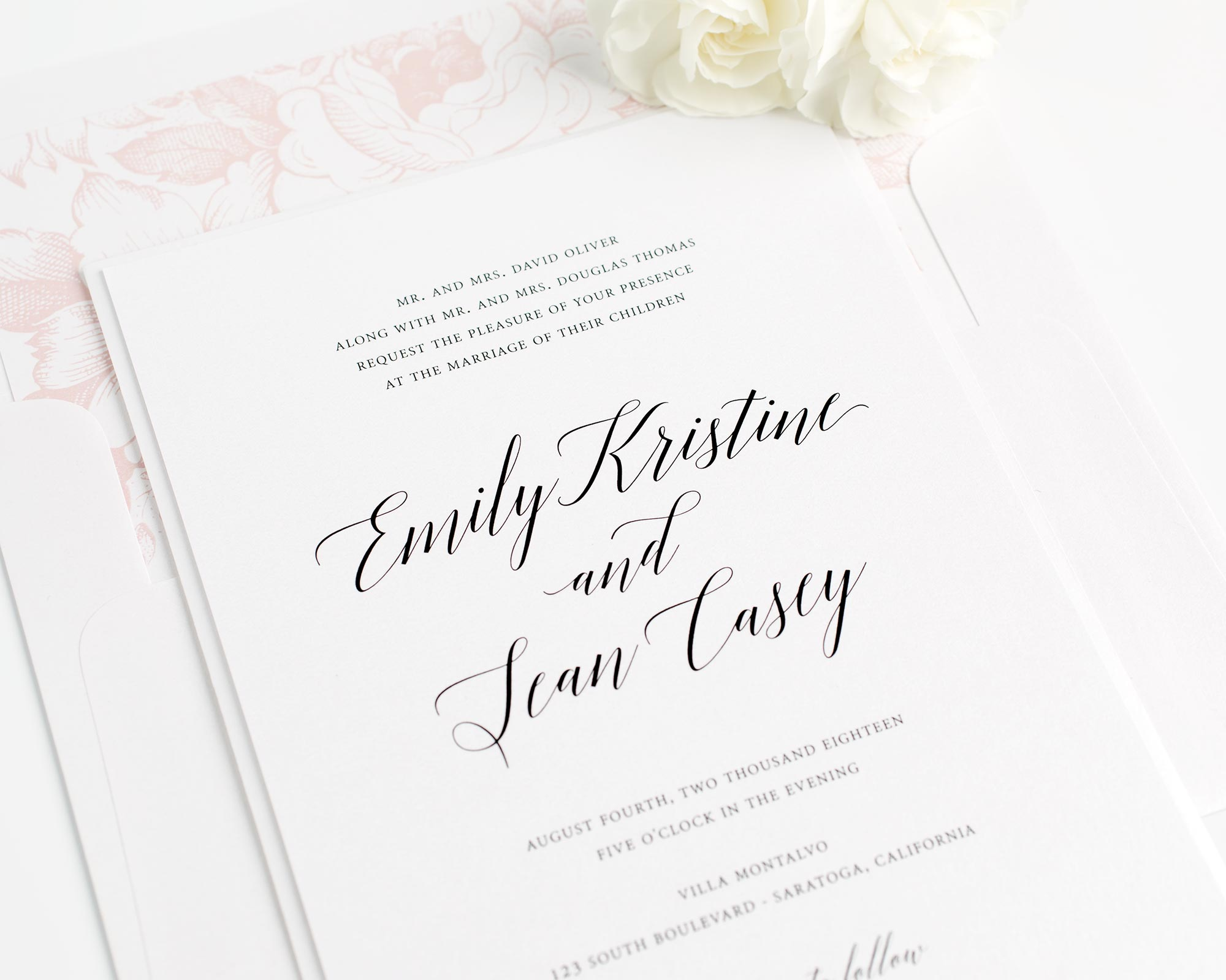 Romantic Wedding Invitations in Blush Pink with Floral Pattern
