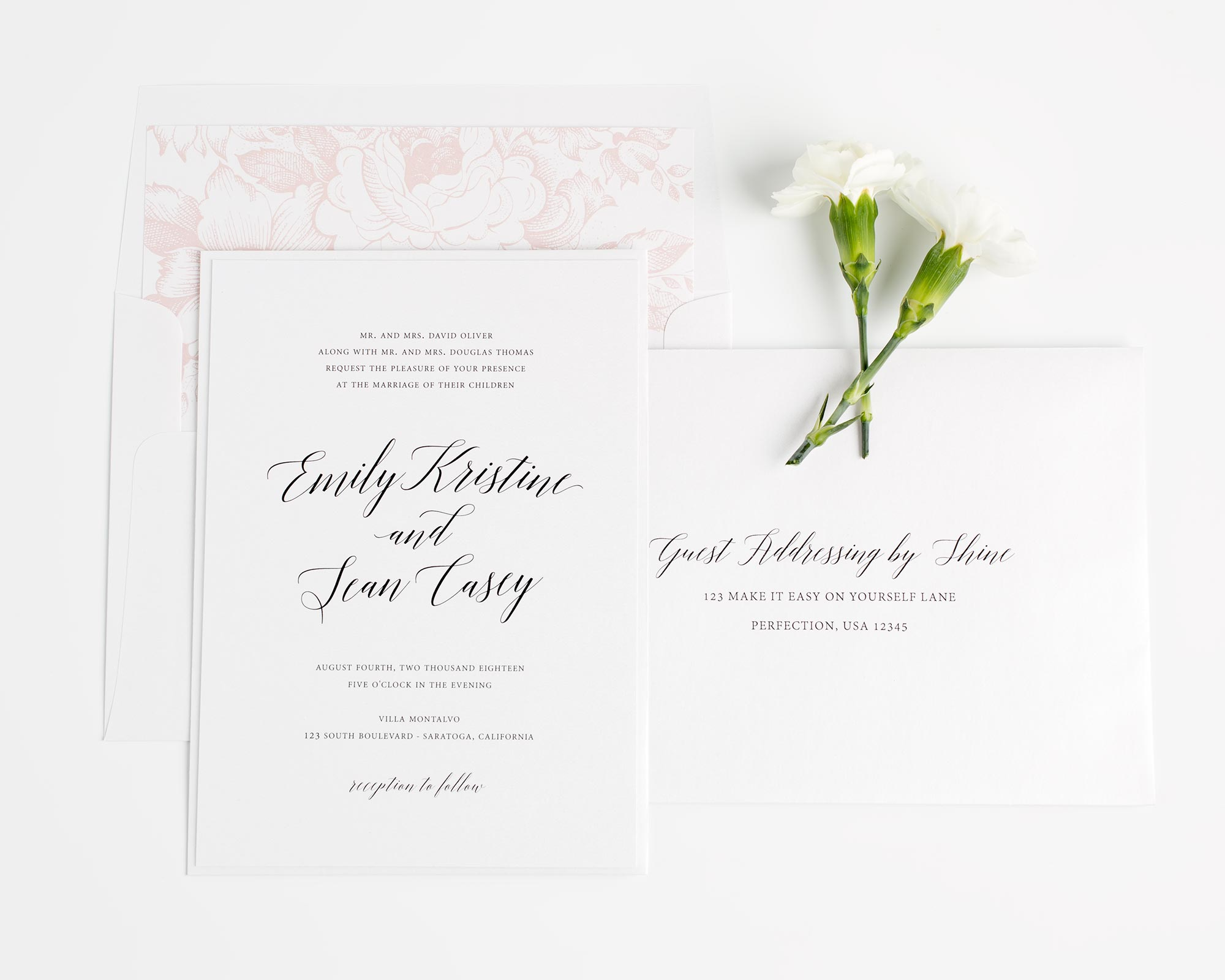 Garden Wedding Invites in Blush