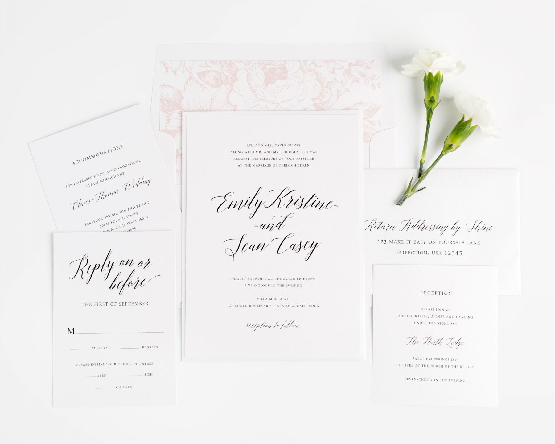 Calligraphy Wedding Invitations with a Floral Envelope Liner
