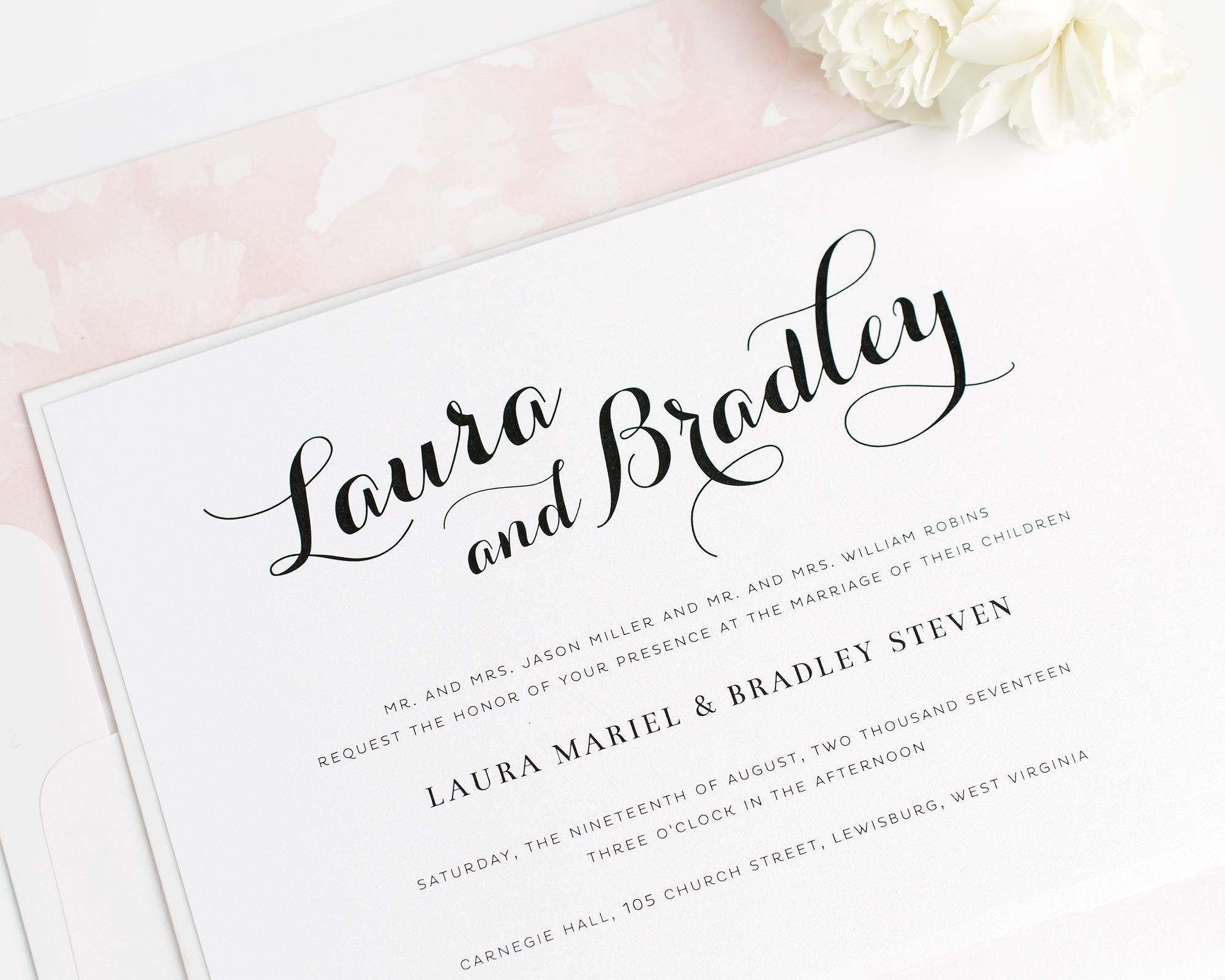 Romantic Wedding Invitations with Bold Calligraphy and a Blush Floral Liner