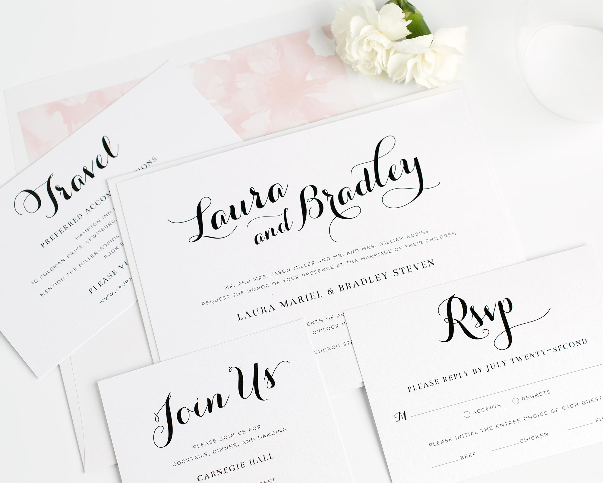 Romantic Script Wedding Invitations in Watercolor Floral