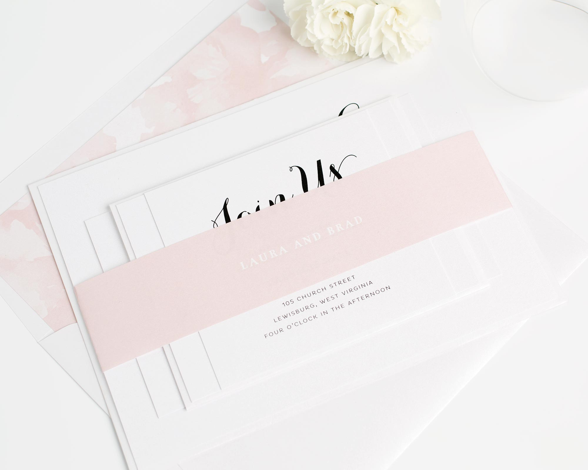 Blush Pink Floral Wedding Invitations with Pretty Calligraphy