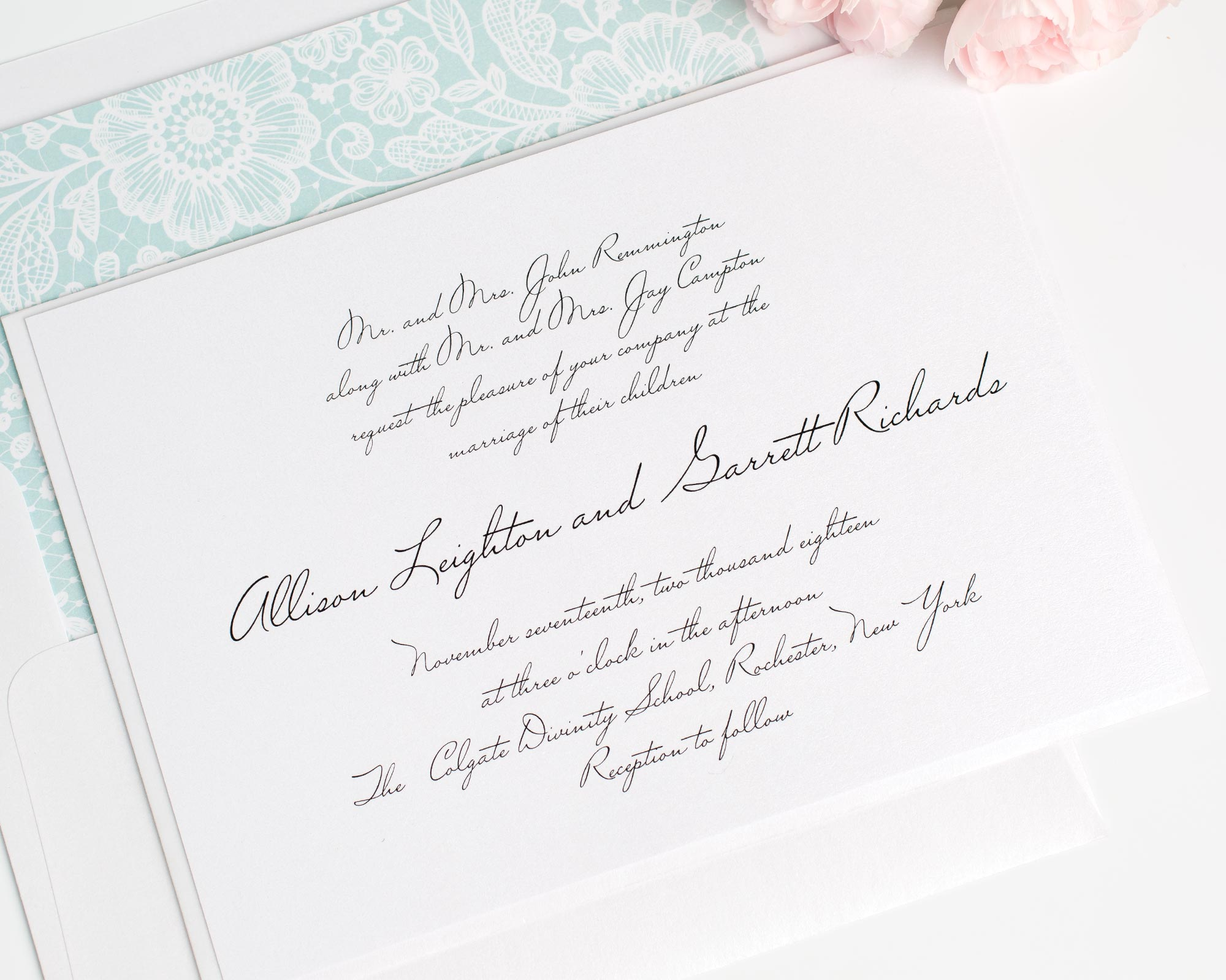 Handwritten Wedding Invitations in Mint with a Lace Envelope Liner