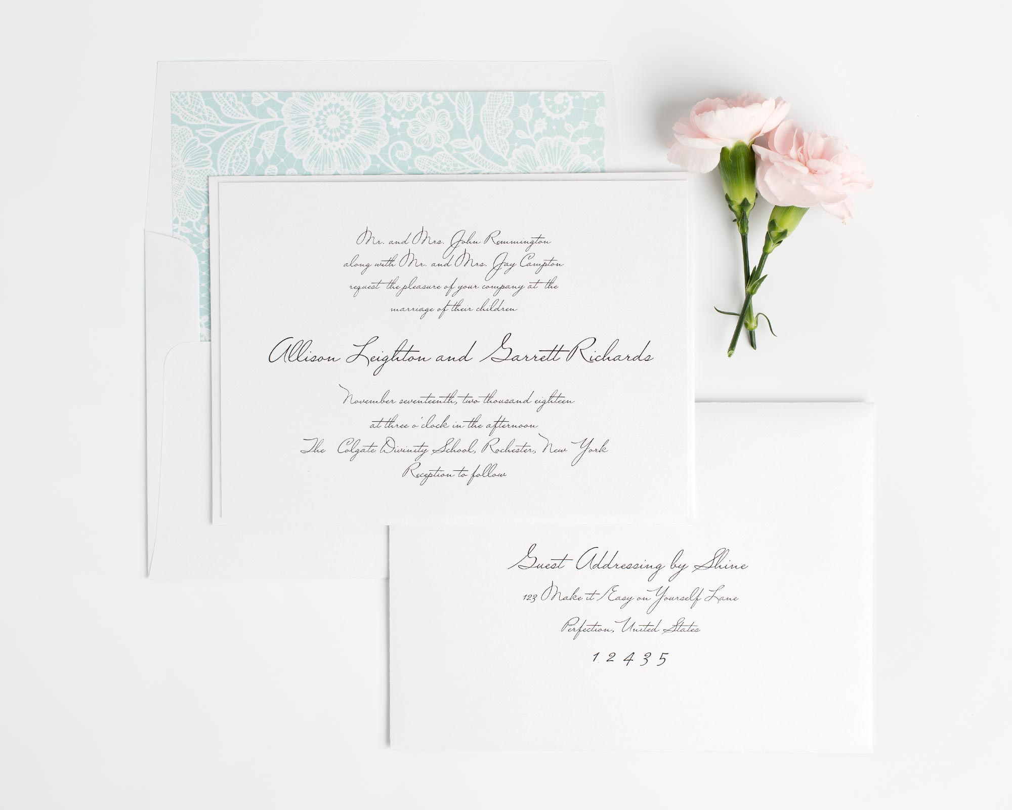 Mint Lace Wedding Invitations with Handwritten Type