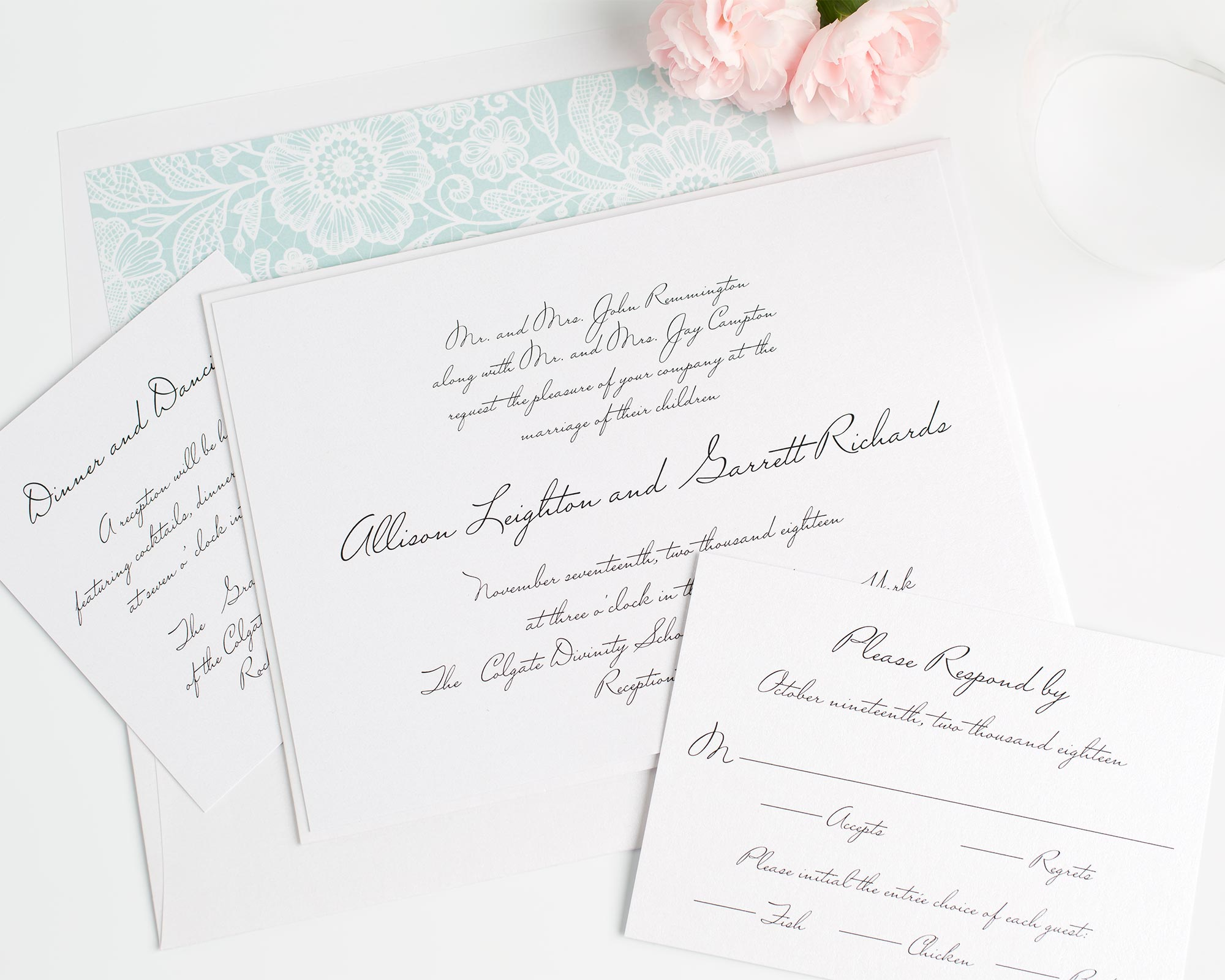 Mint Lace Wedding Invitations