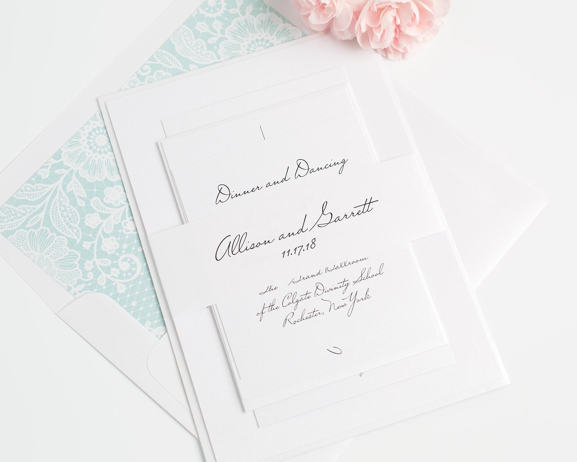 All Script Wedding Invitations with a Mint Lace Liner