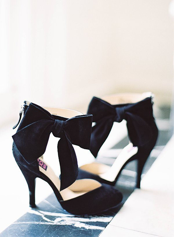 Glamorous Black Heels with a Bow