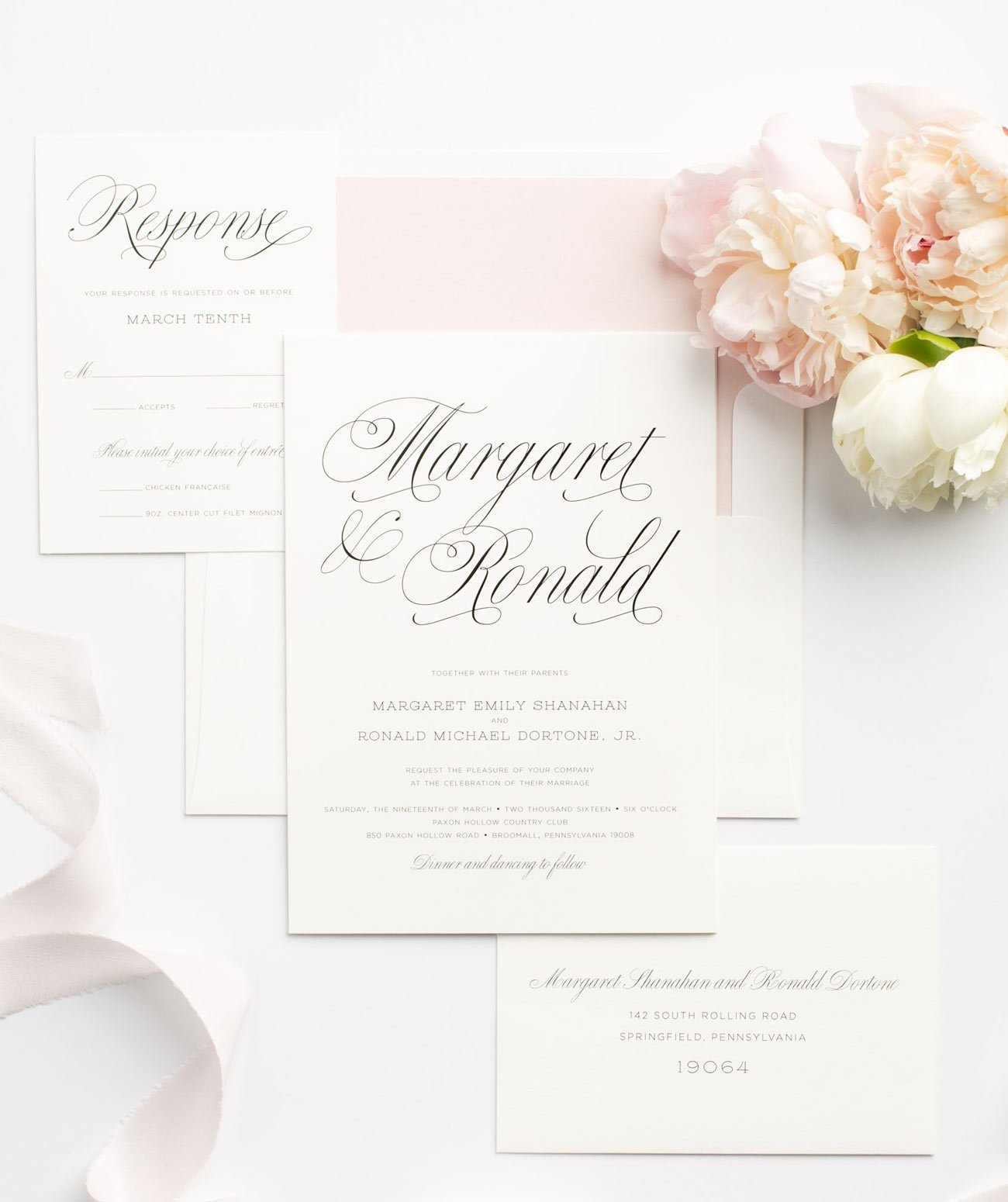 Romantic Wedding Invitations with gorgeous gray calligraphy and a blush pink envelope liner