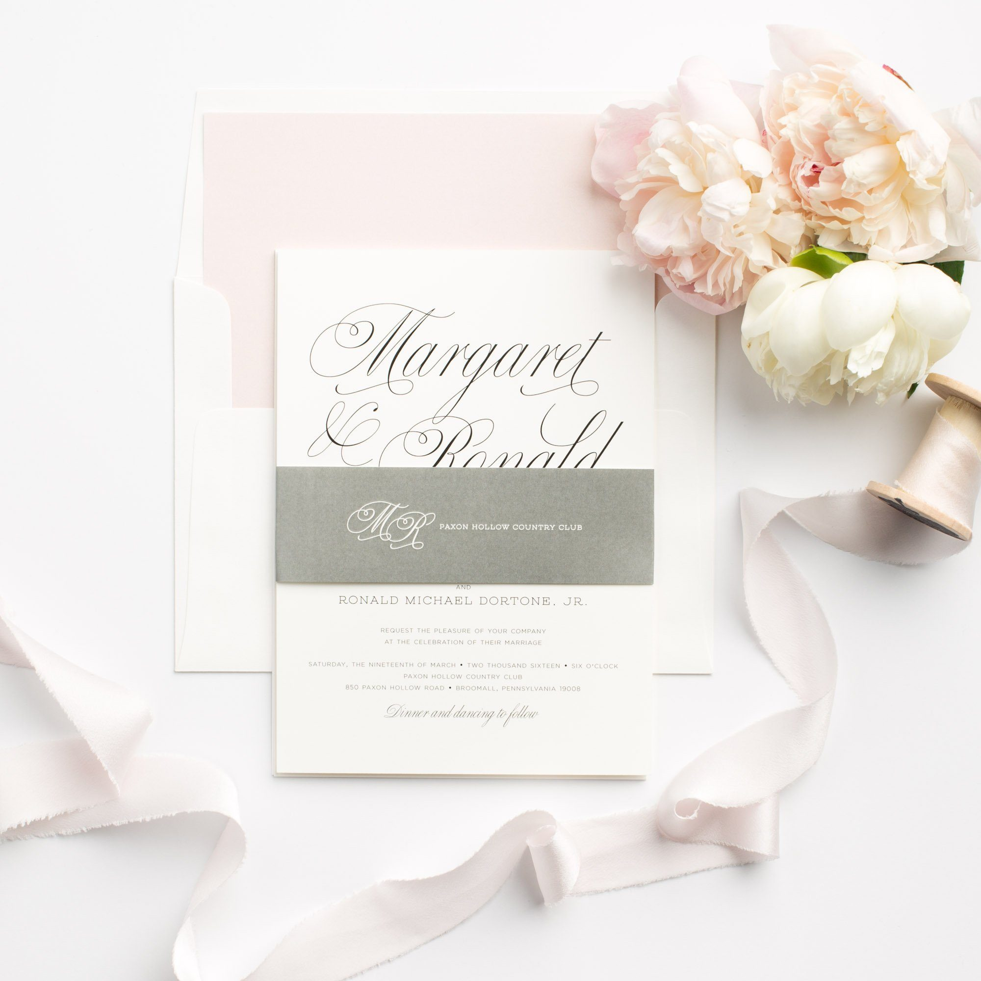 Gray and Pink Simple Wedding Invitations with a Watercolor Envelope liner
