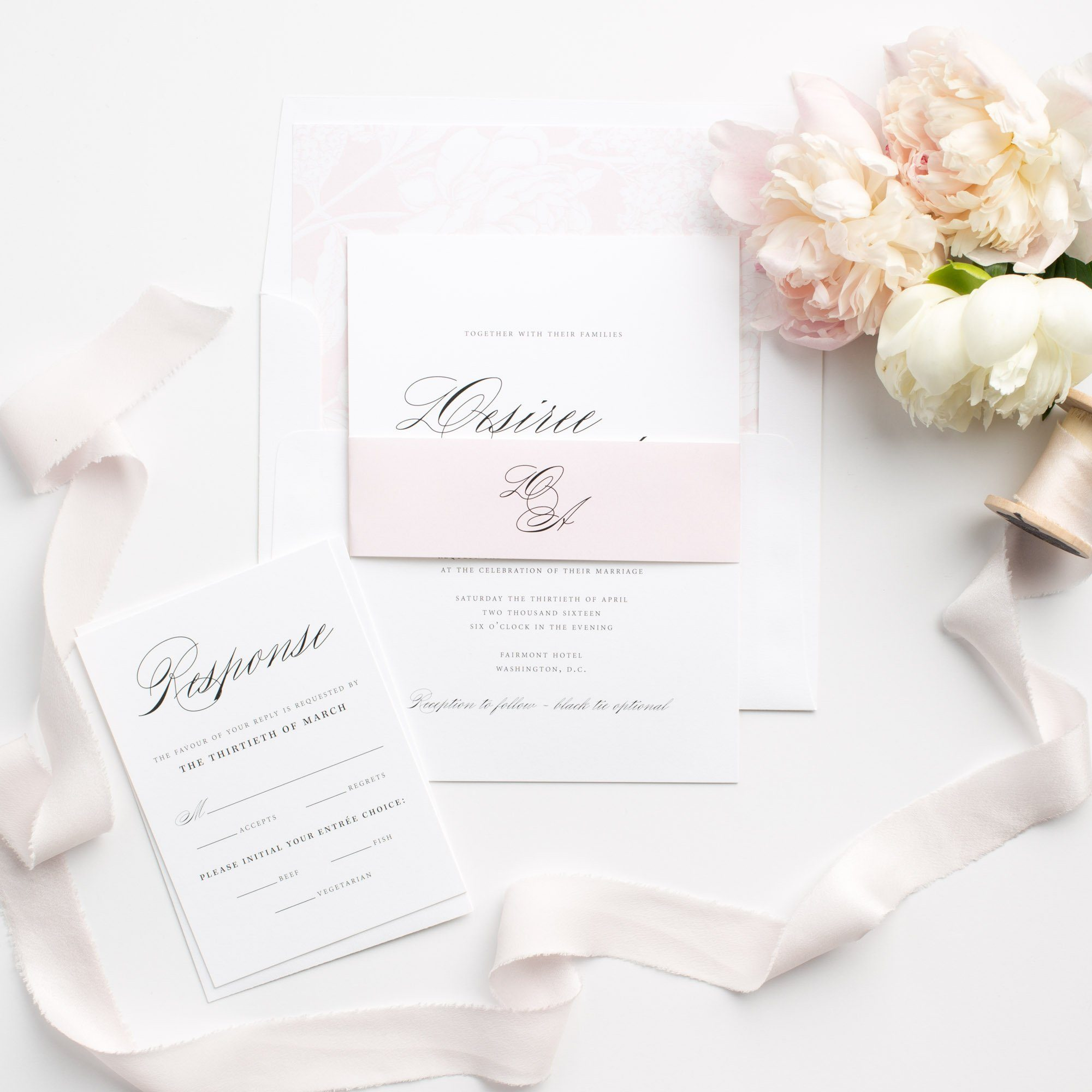 Pink Floral Wedding Invitations with Classic Calligraphy