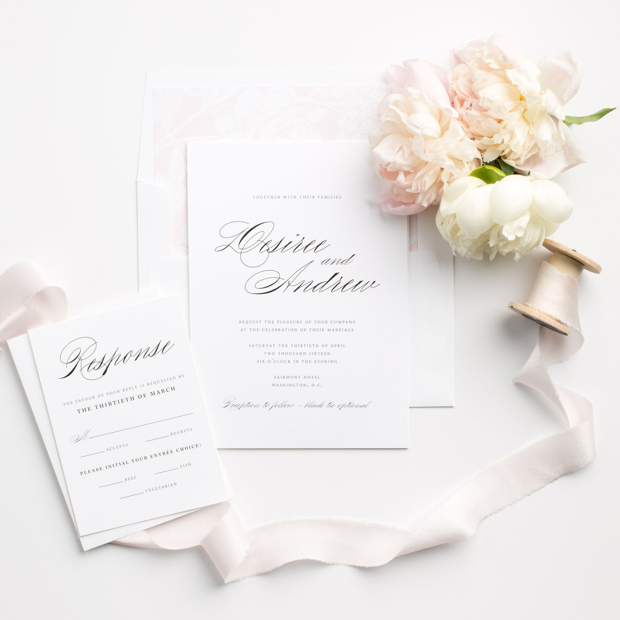 Simple and Elegant Calligraphy Wedding Invitations