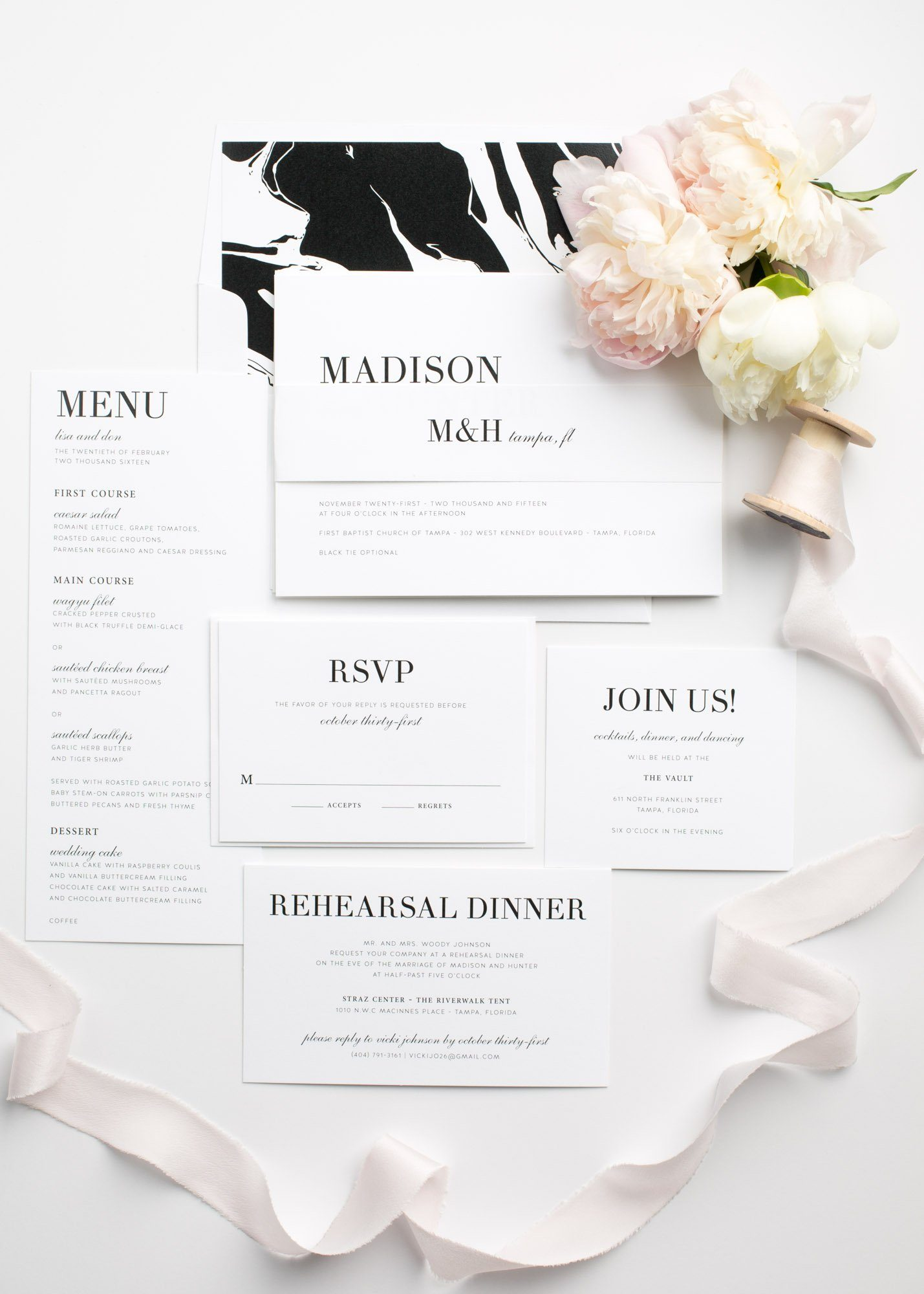 Urban Wedding Invitations in Black and White with a Marble Envelope Liner