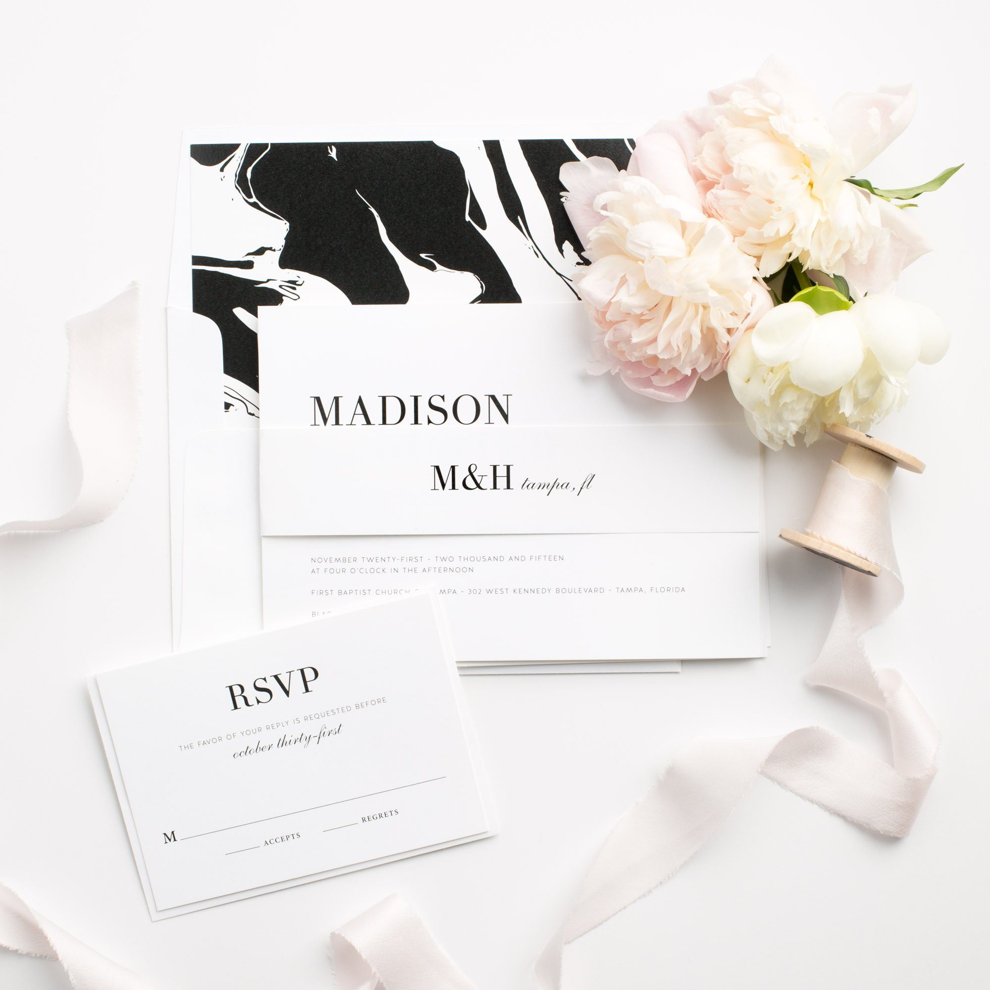 Modern Wedding Invitations with a Marble Envelope Liner