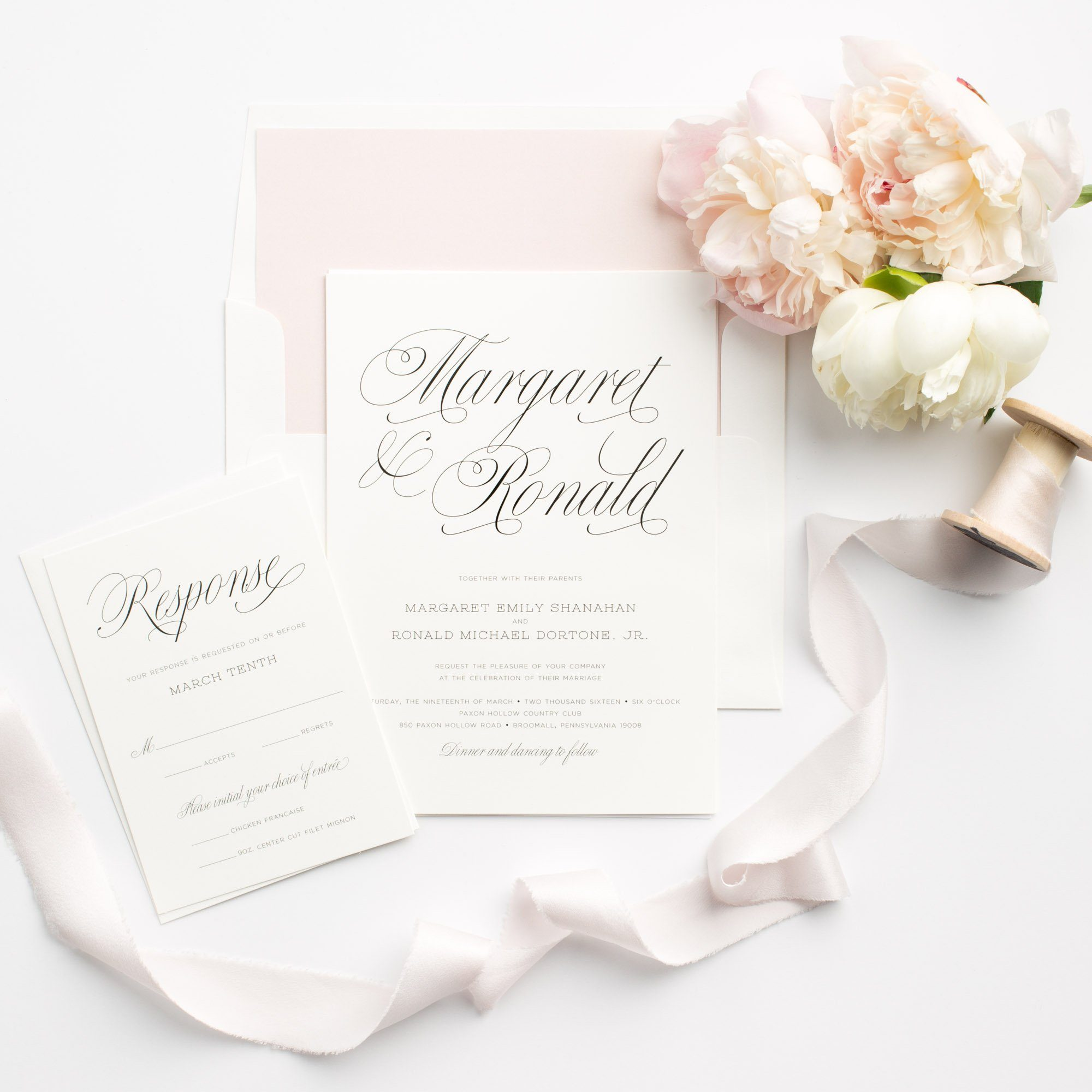 Garden Wedding Invitations in Blush Pink and Gray