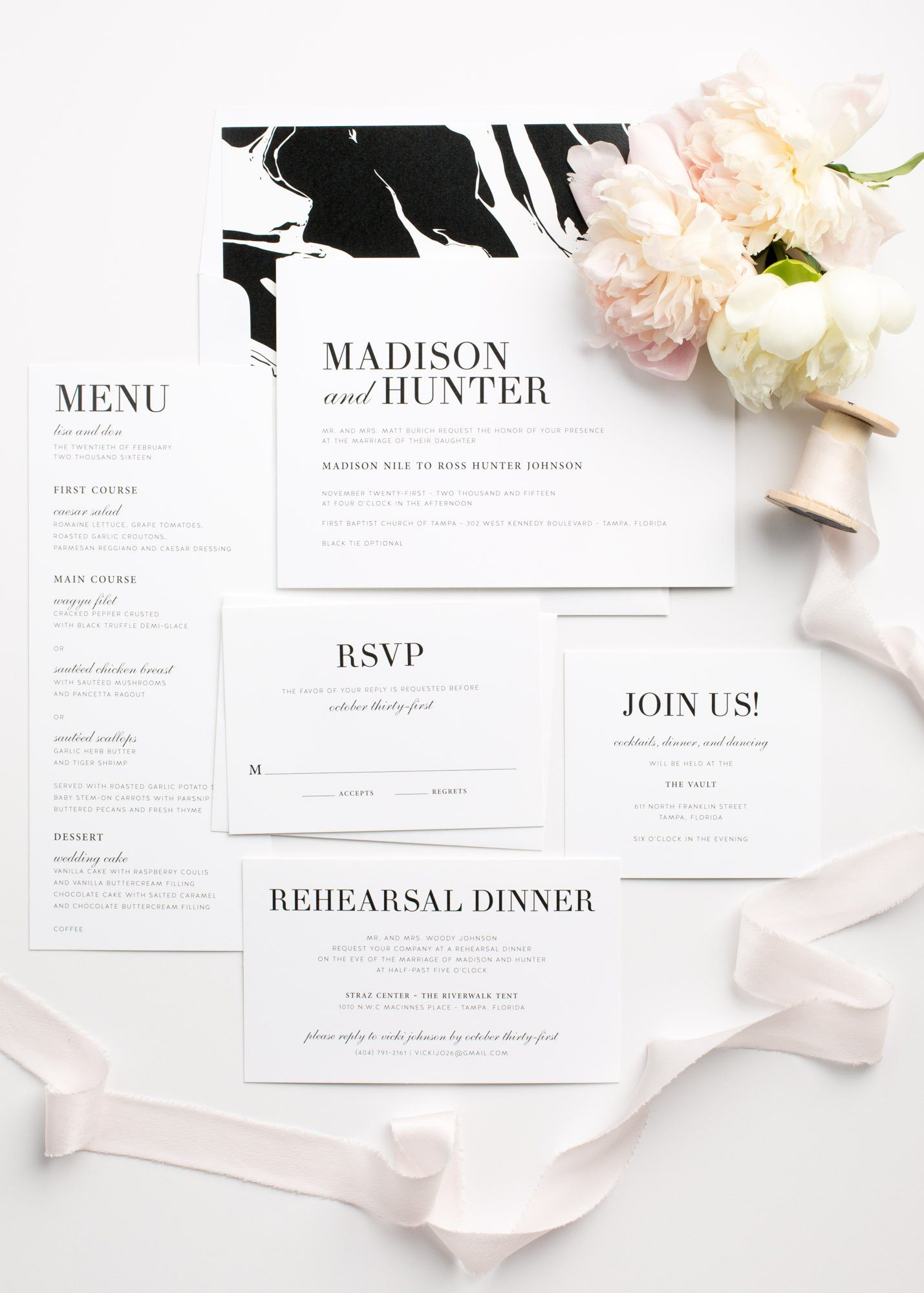 Simple and Modern Wedding Invitations in Black and White with a Marble Envelope Liner