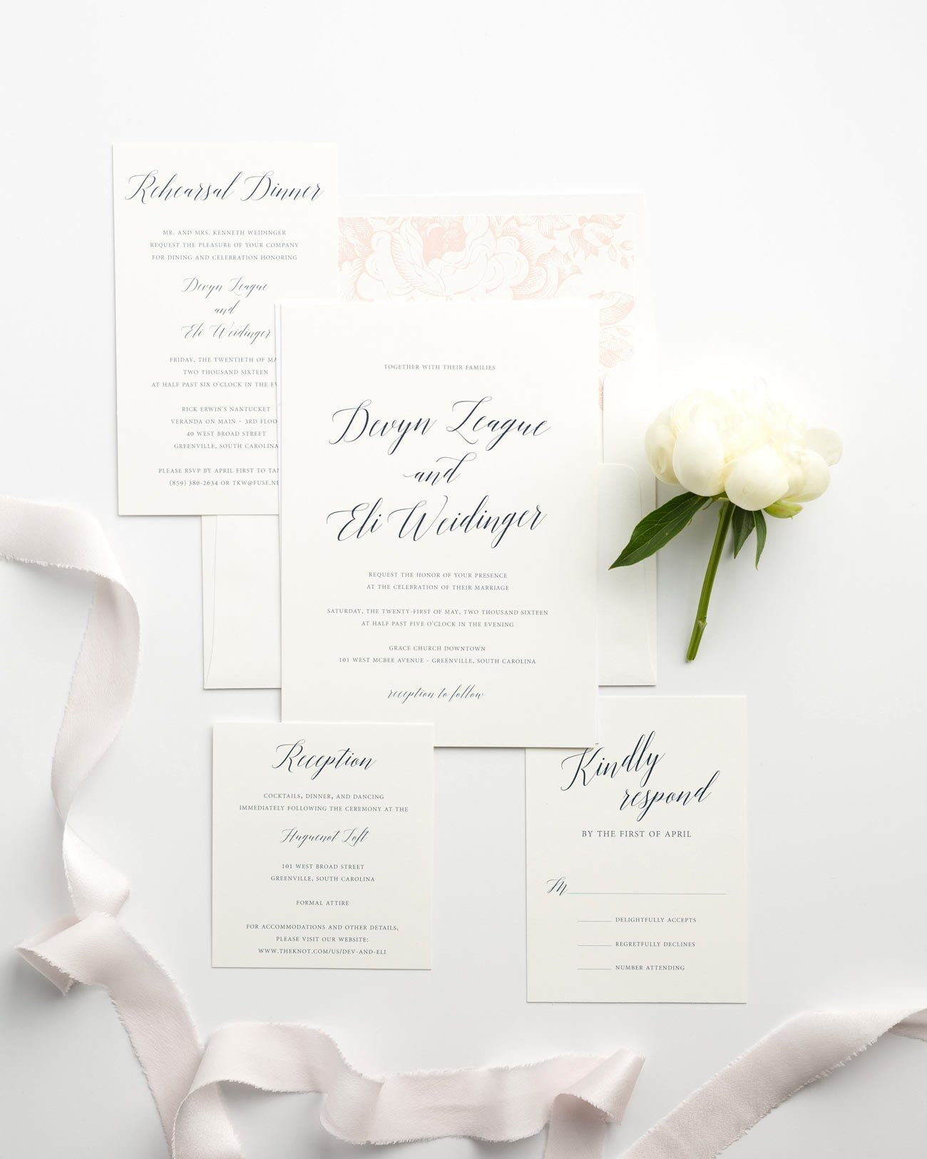 Romantic Garden Wedding Invitations with Modern Calligraphy with Floral, Navy, and Blush accents