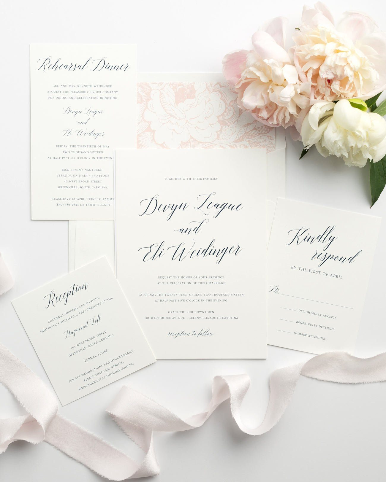 Garden Wedding Invitations in Navy and Pink