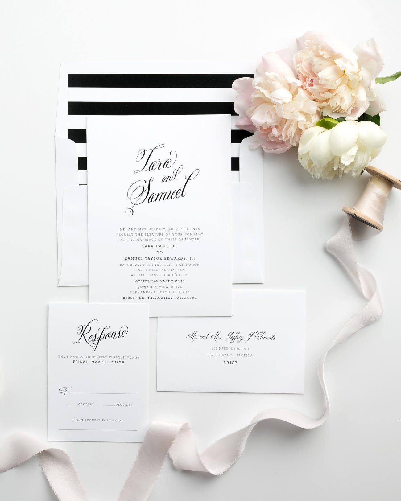 Simple Black and White Wedding Invitations with Calligraphy and Striped Accents