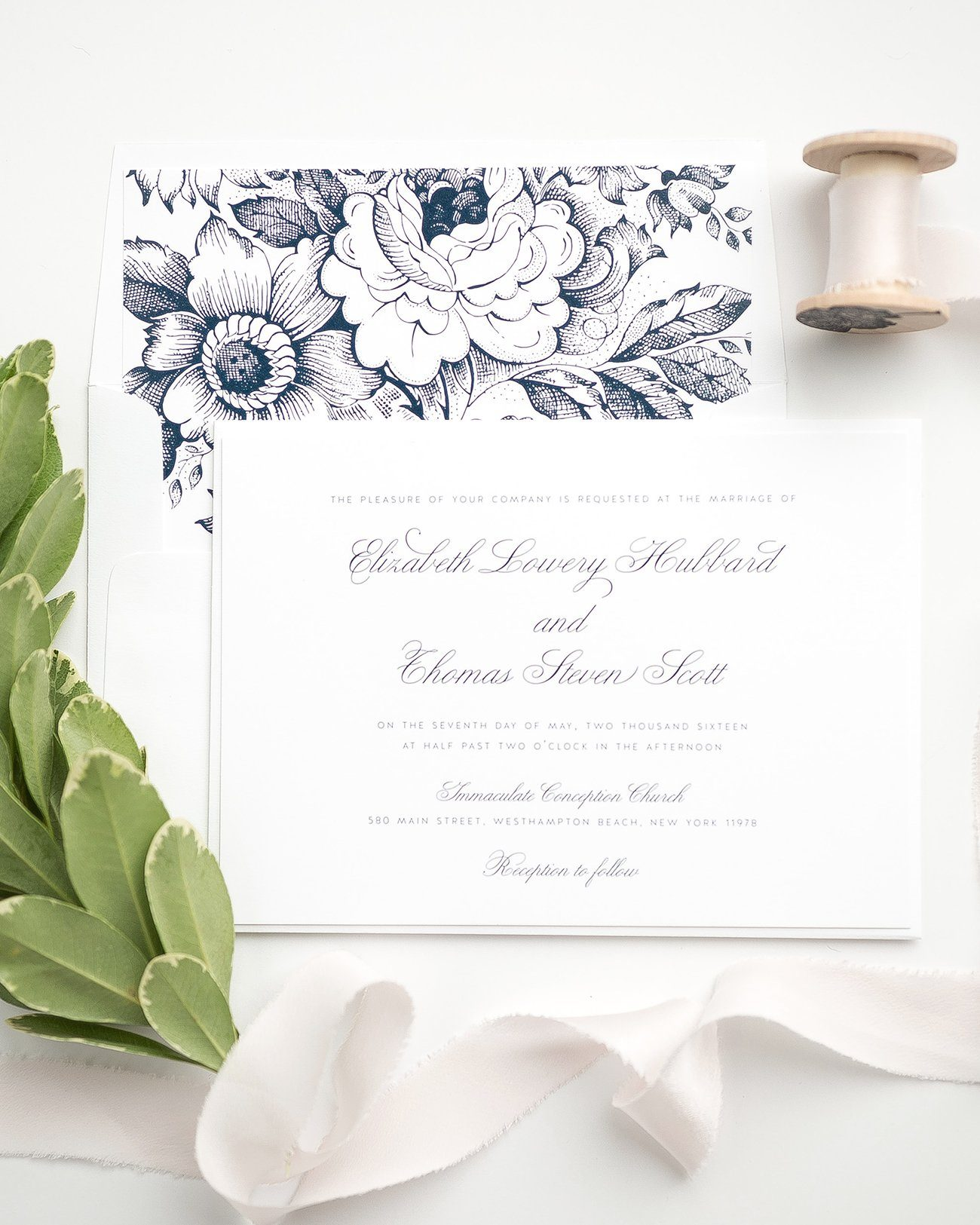Vintage Wedding Invitations in Navy Blue