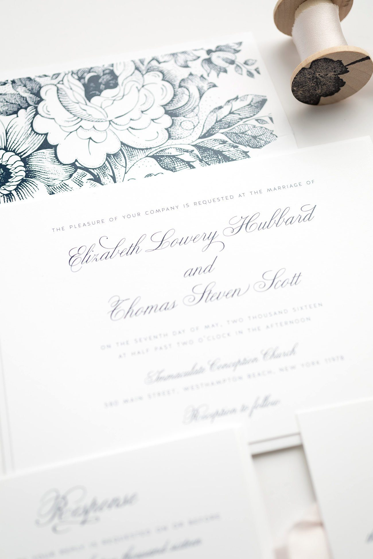 Classic Wedding Invitations in Navy Blue with Floral Envelope Liner