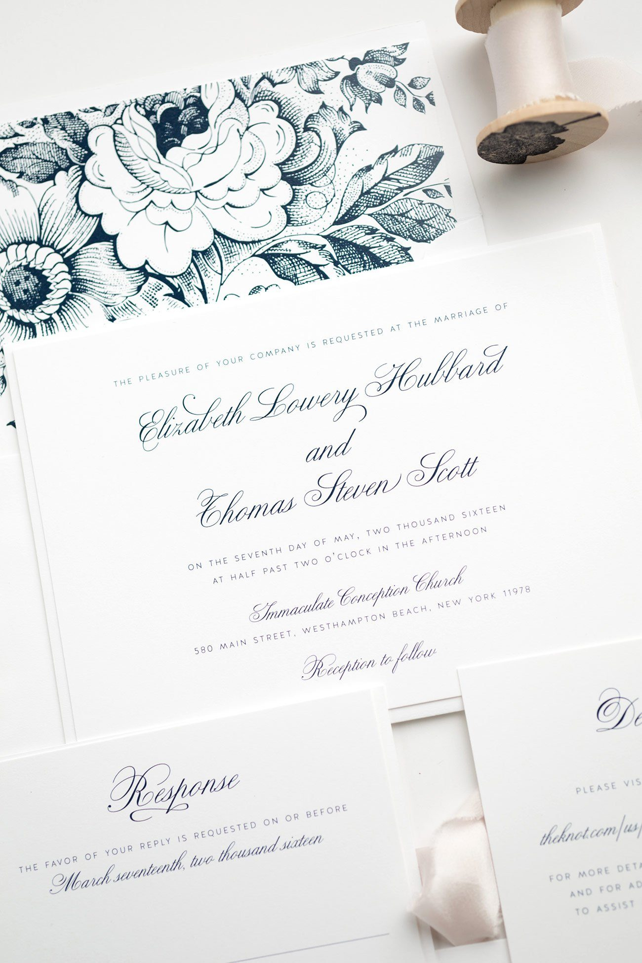 Simple and Elegant Wedding Invitation in Navy Blue with Floral Accents