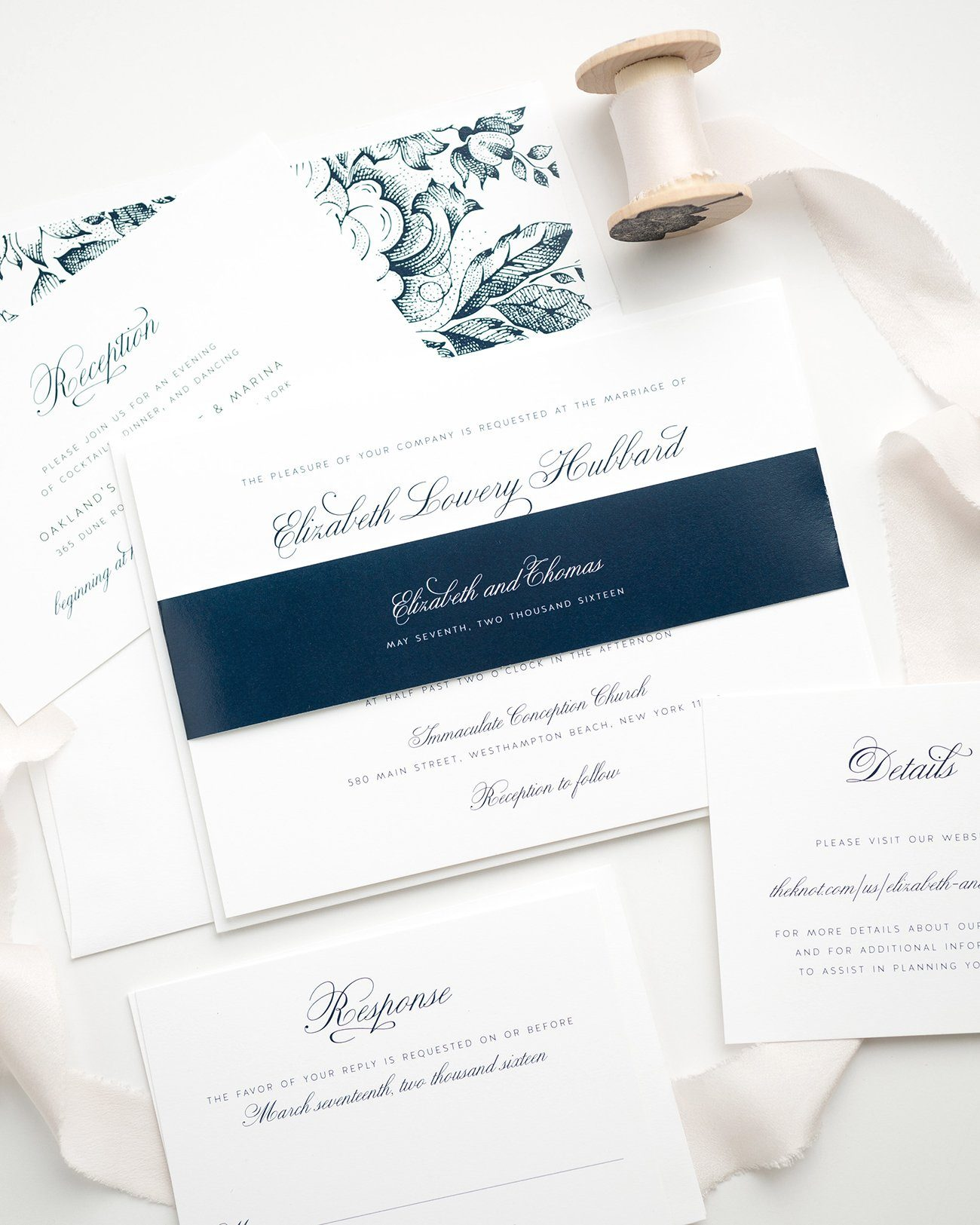 Simple Navy Blue Wedding Invitations