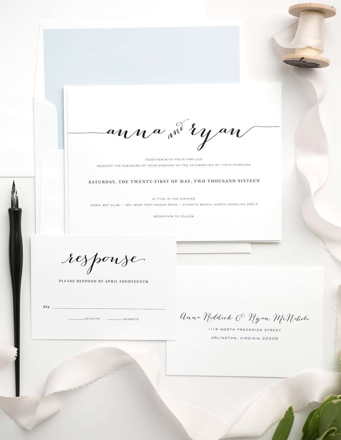 Simple Calligraphy Wedding Invitations in Dusty Blue