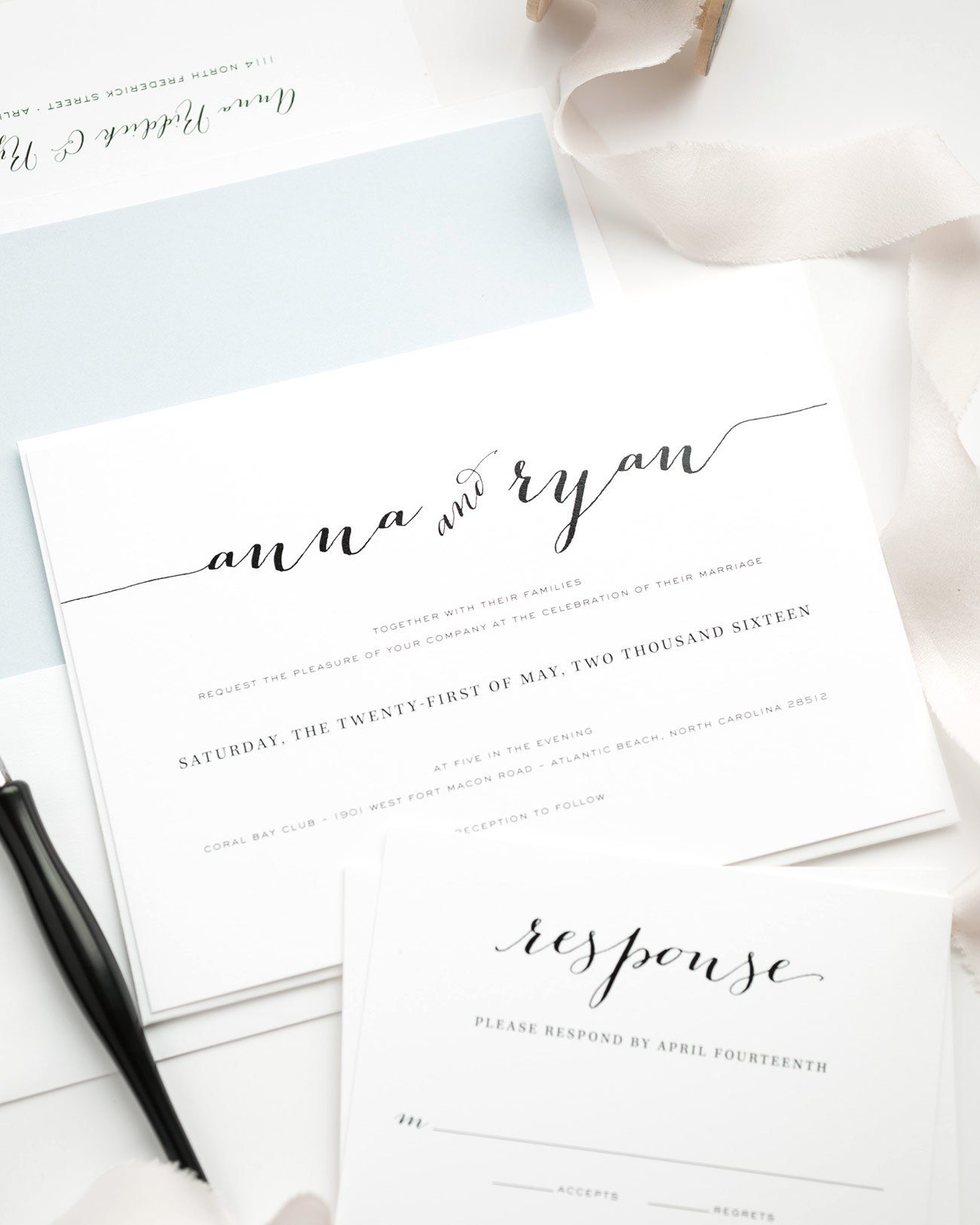 Blush and Blue Wedding Invitations