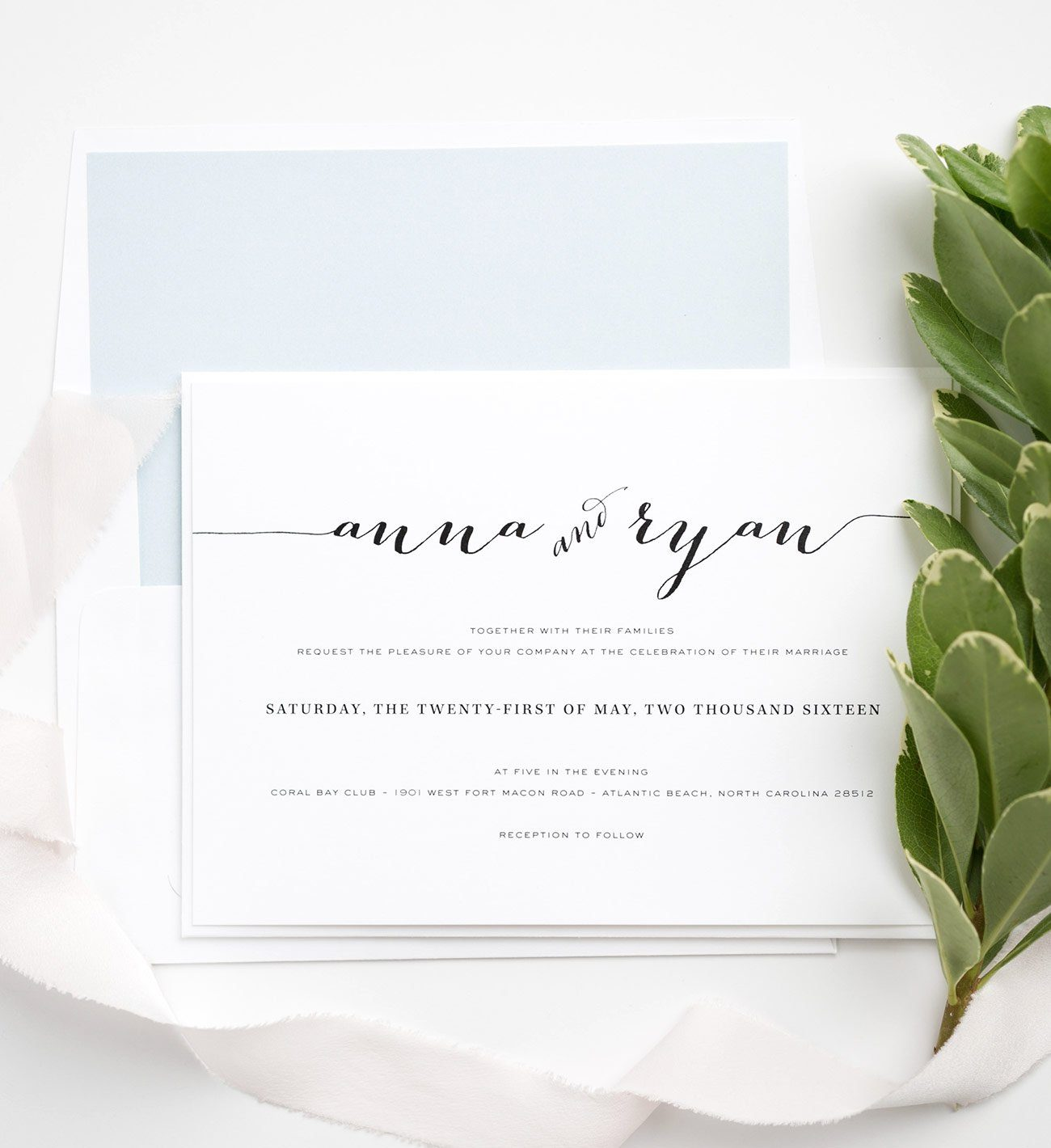 Calligraphy Wedding Invitations in Light Blue