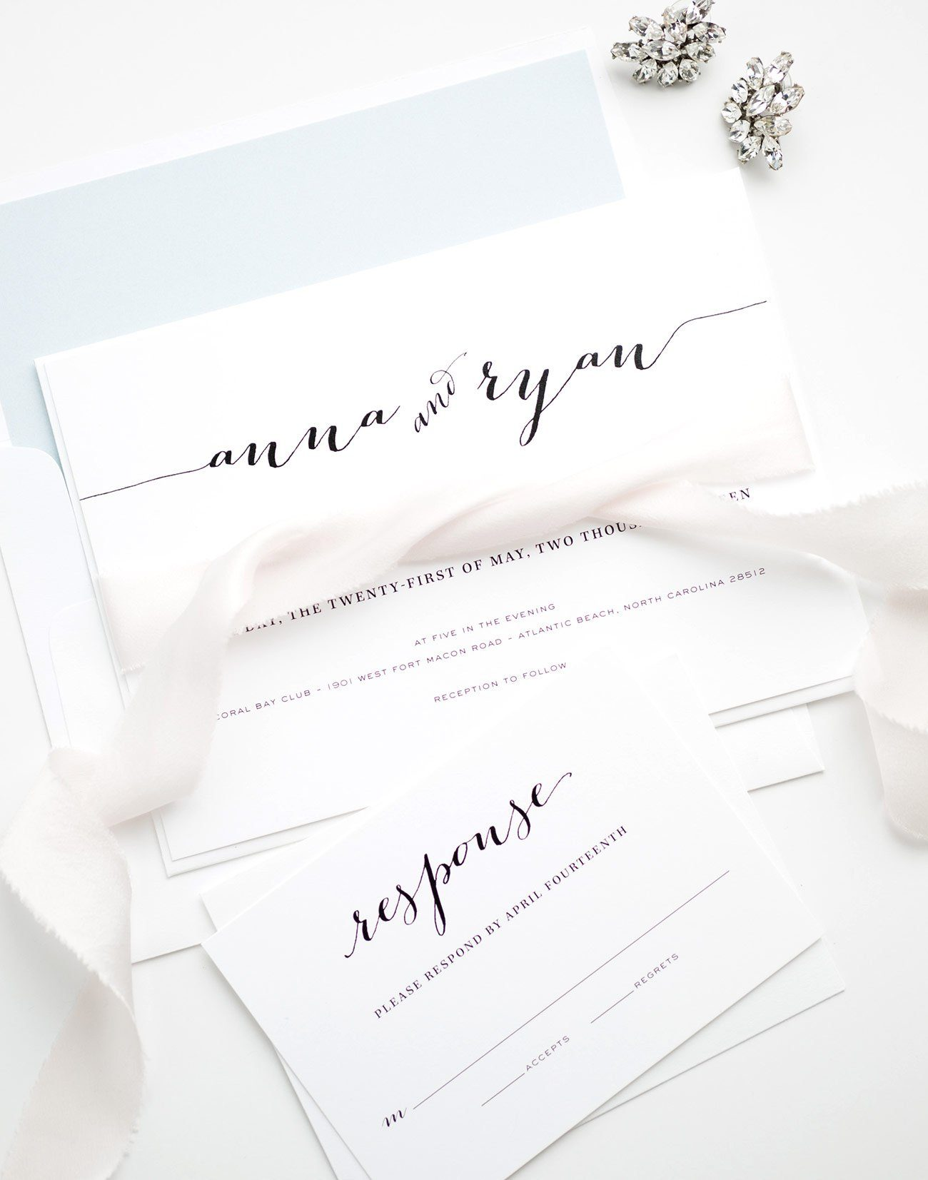 Elegant Calligraphy Wedding Invitations in Light Blue