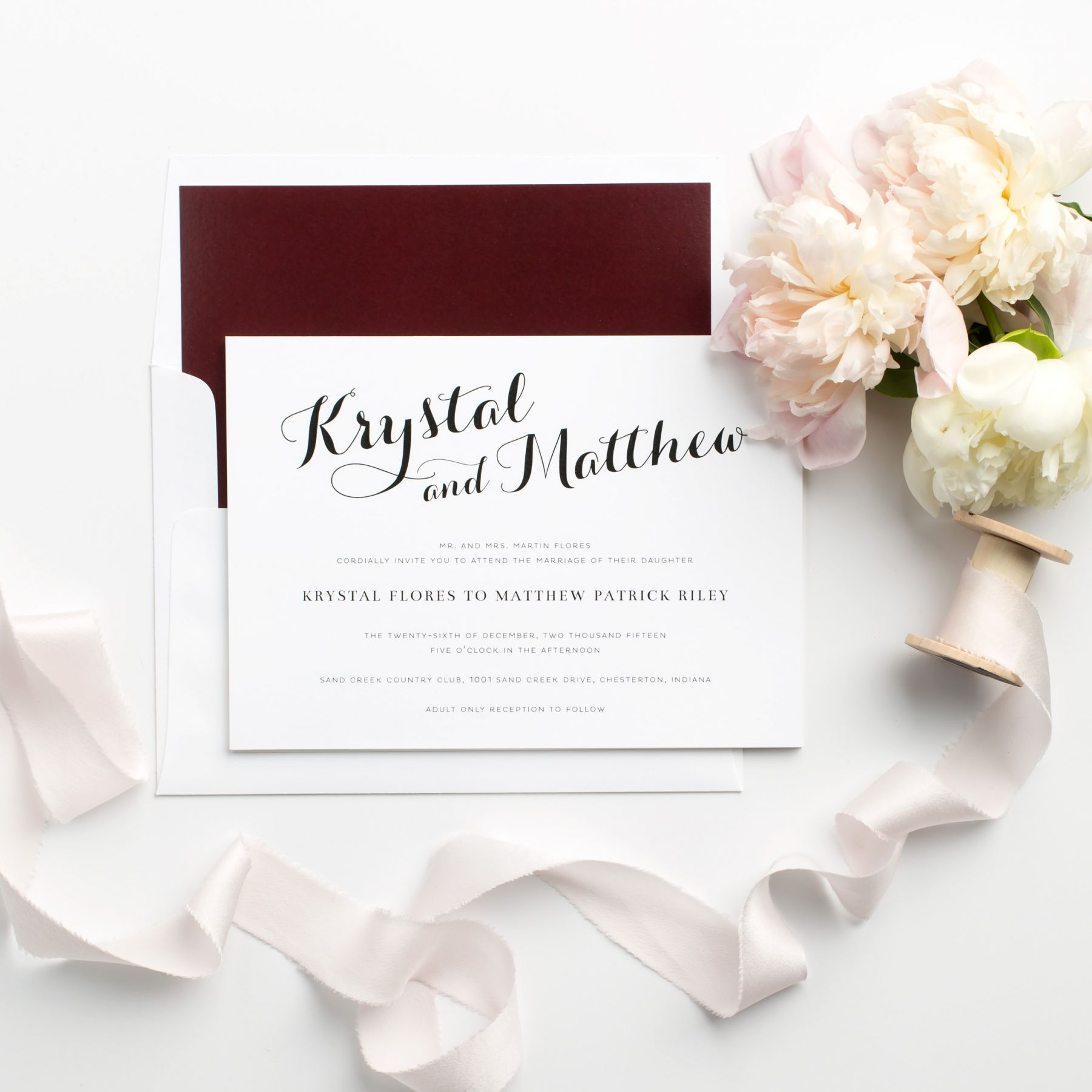 Burgundy Wedding Invitations with Romantic and Bold Calligraphy