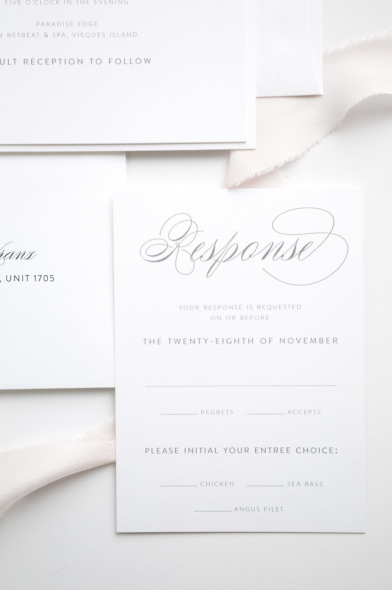 Response Card for Simple Wedding Invitations in Gray