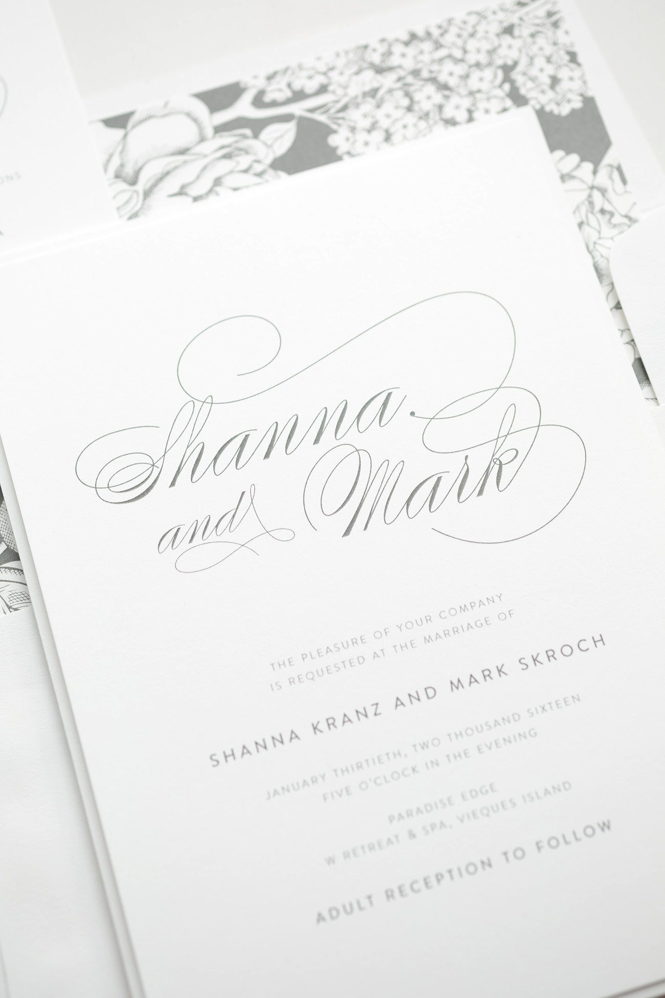 Gorgeous Calligraphy Wedding Invitations in Gray with a Floral Envelope Liner