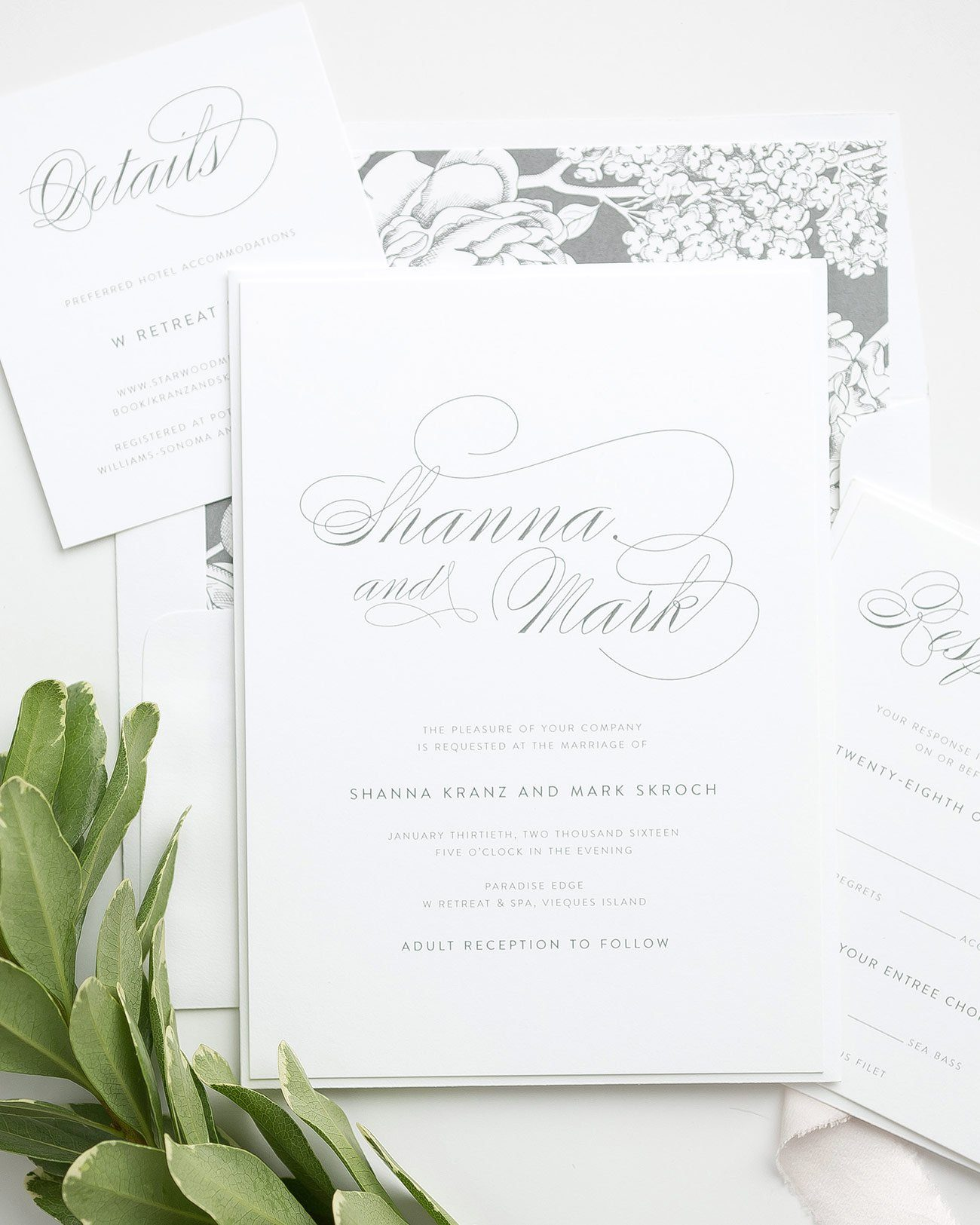 Simple Wedding Invitations in Gray with a Floral Liner