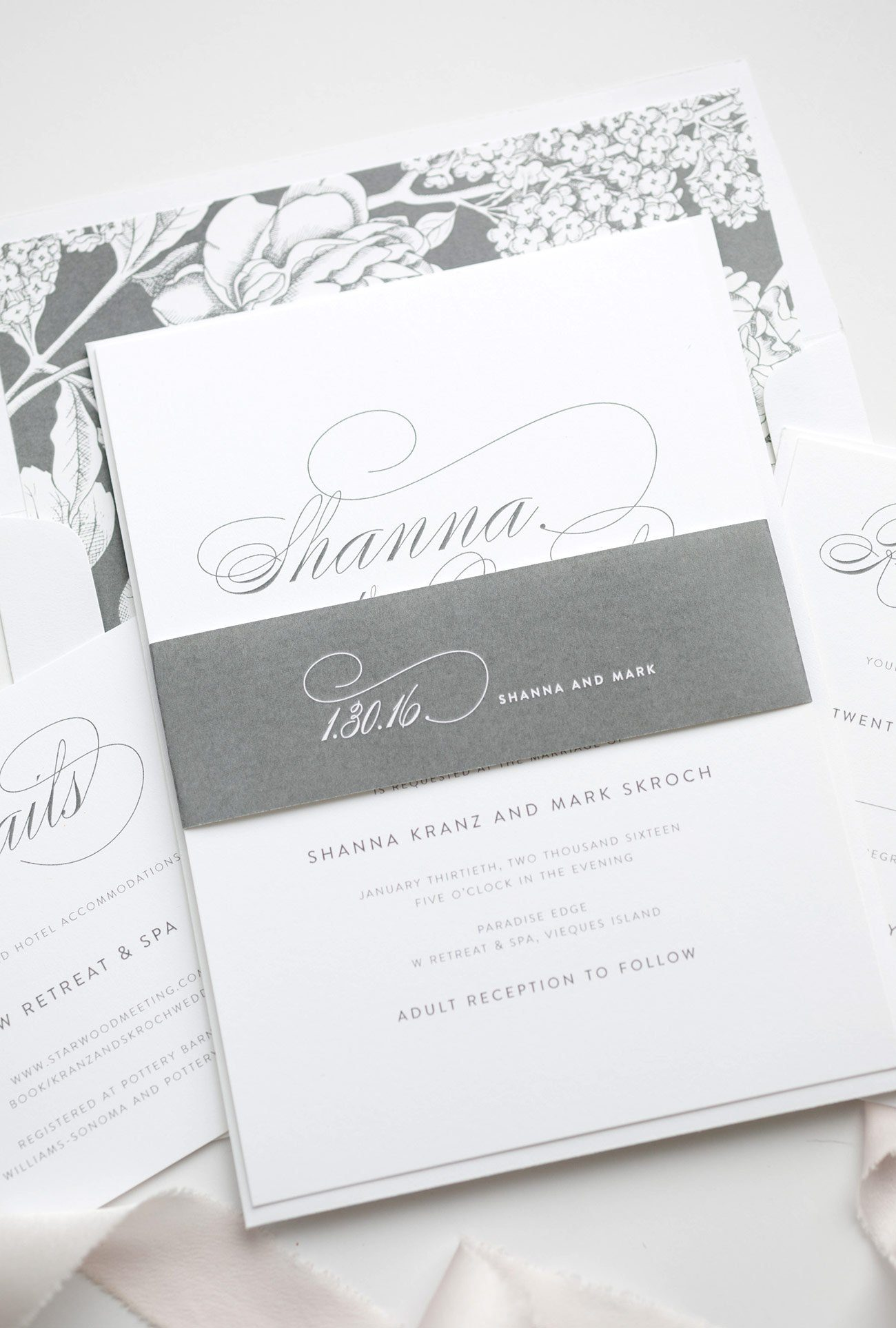 Classic Wedding Invitations in Gray with Floral Accents