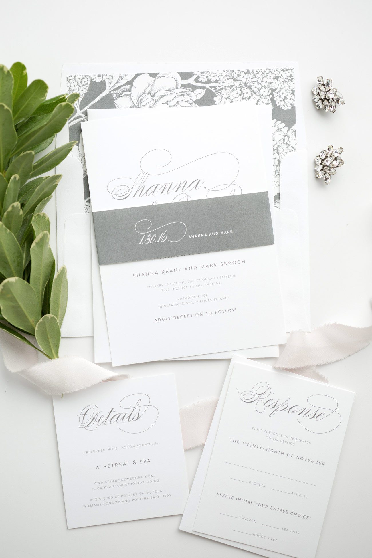 Elegant Dark Gray Floral Wedding Invites