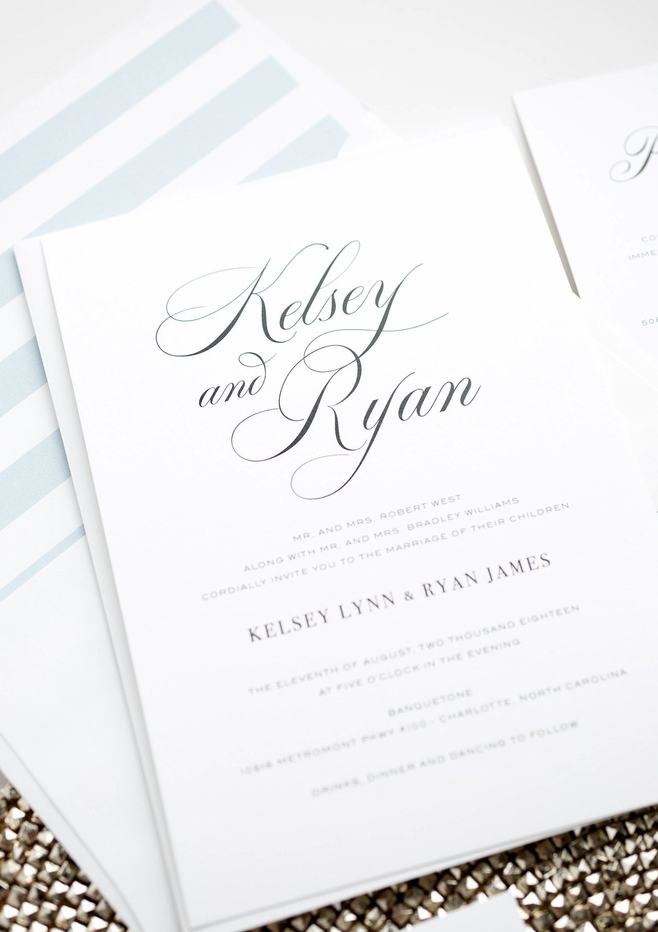 Simple Wedding Invitations with Romantic Calligraphy