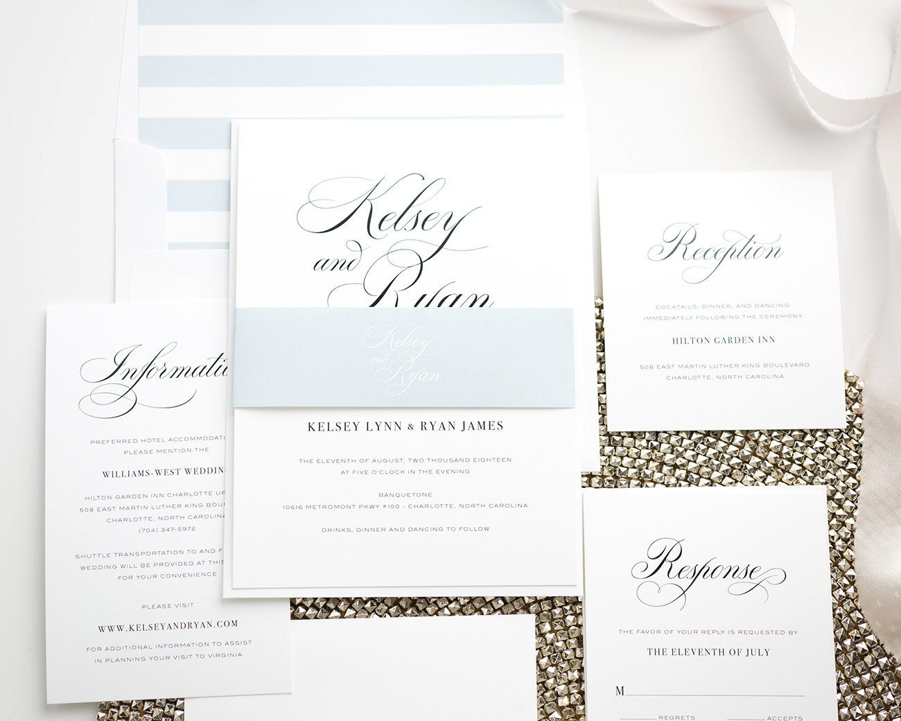 Light Blue Wedding Invitations with stripe accents