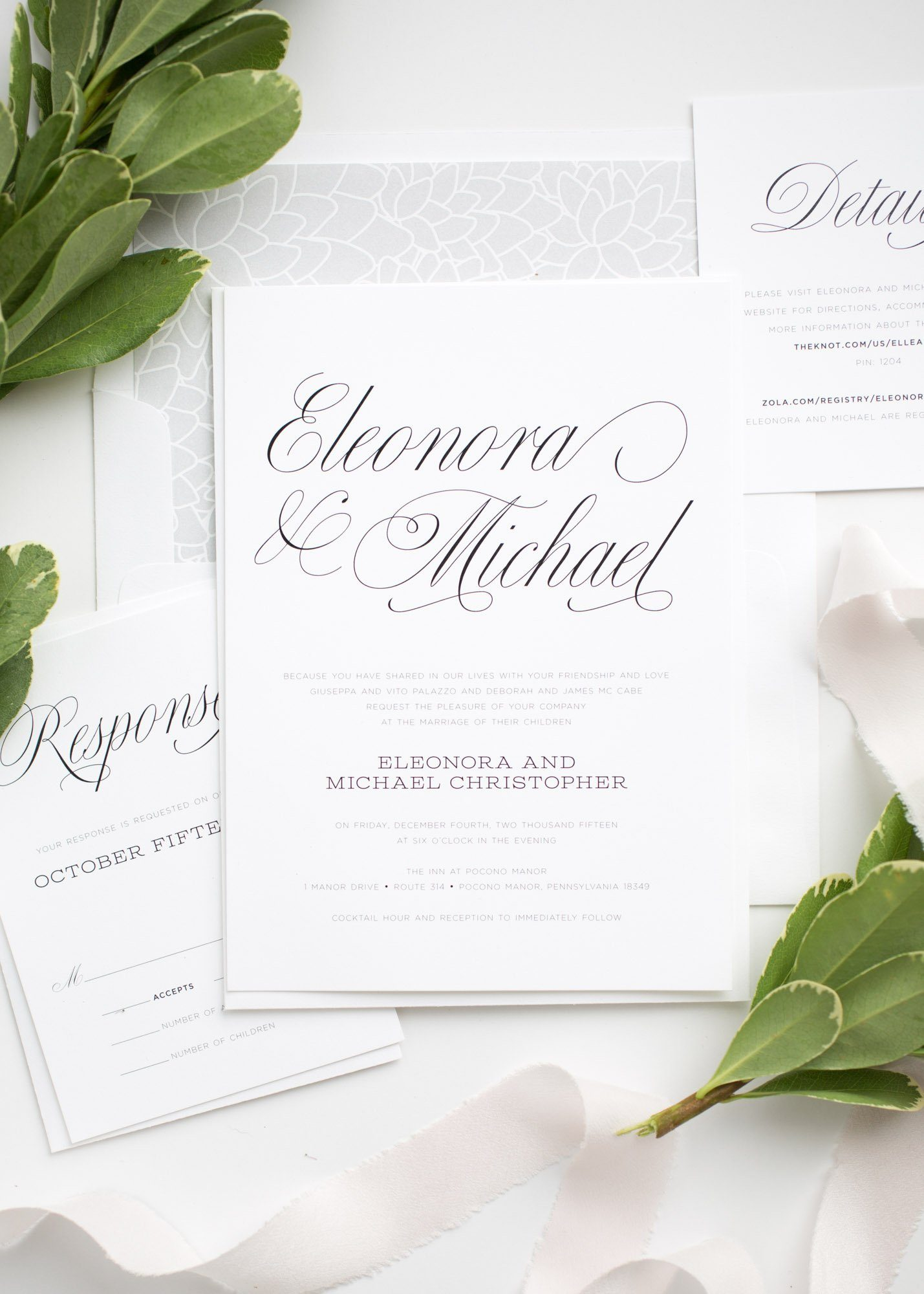 Simple Garden Wedding Invitations in Gray