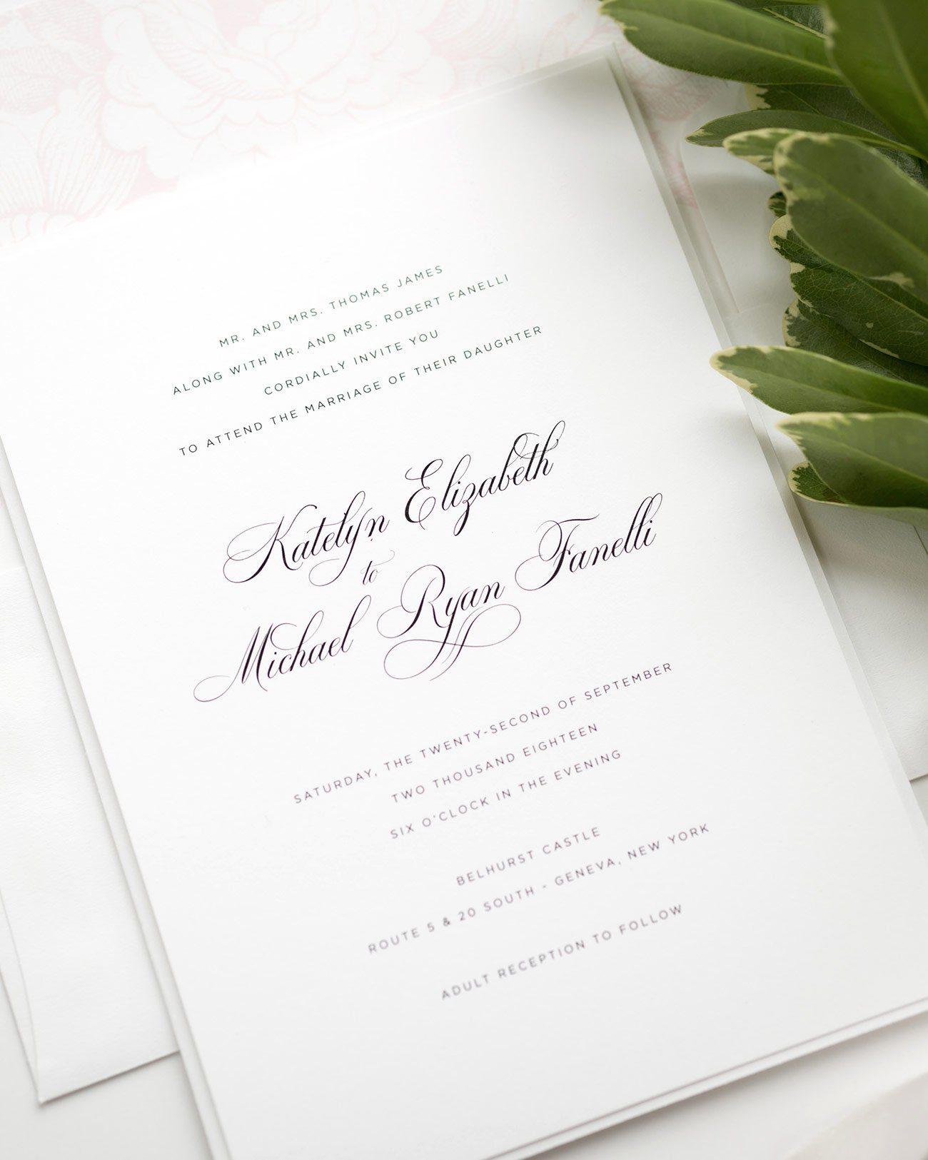 Elegant Wedding invitations in Blush Pink