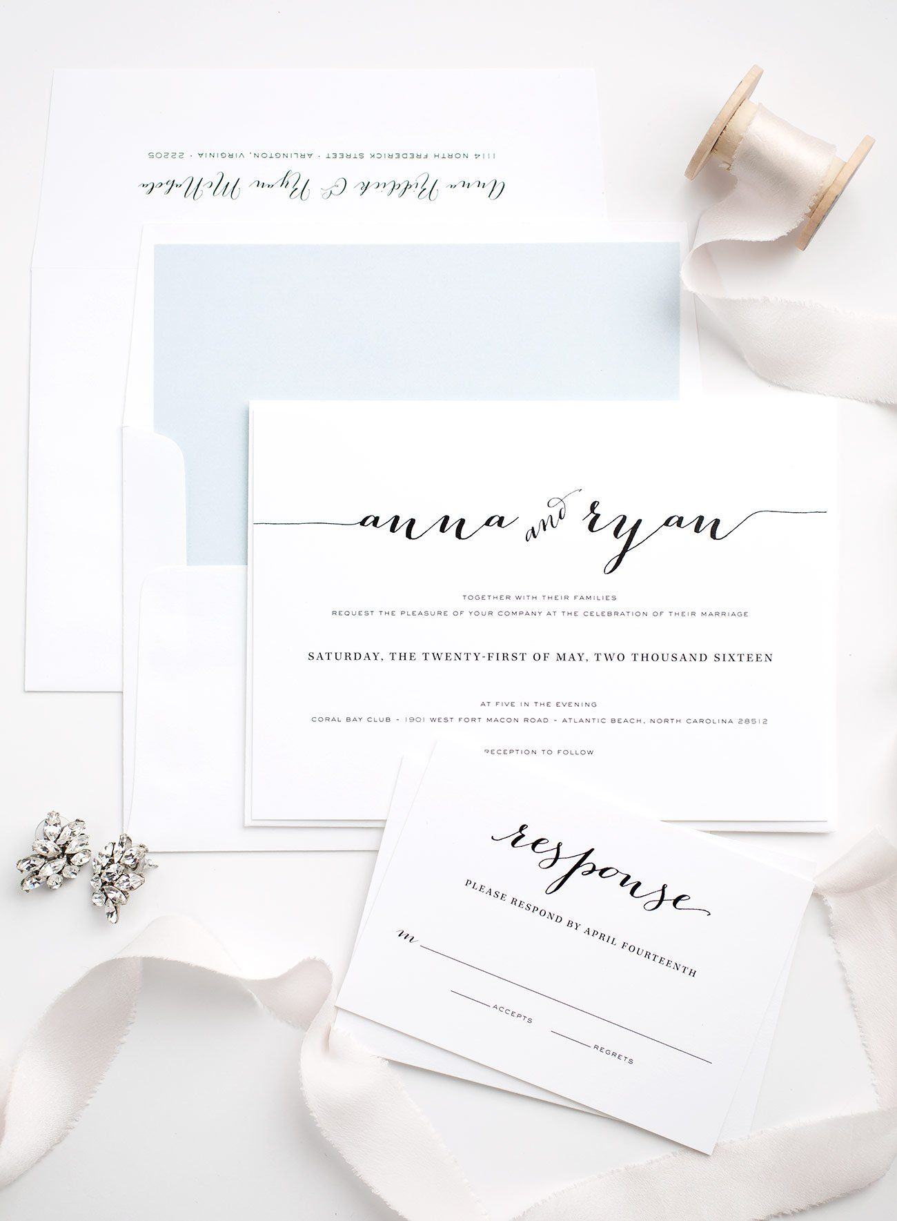 Calligraphy Wedding Invitations in Blue and Blush