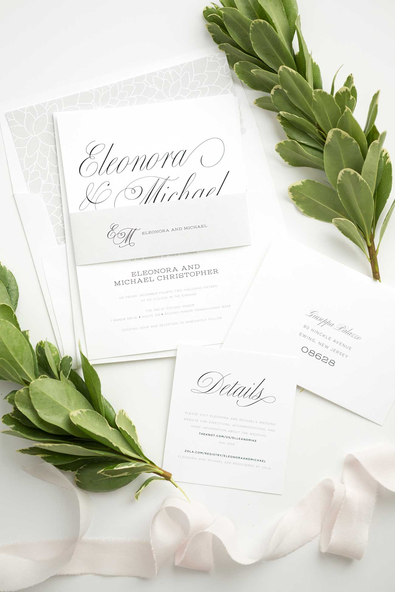 Elegant Garden Wedding Invitation Suite in Gray with a Floral Envelope Liner