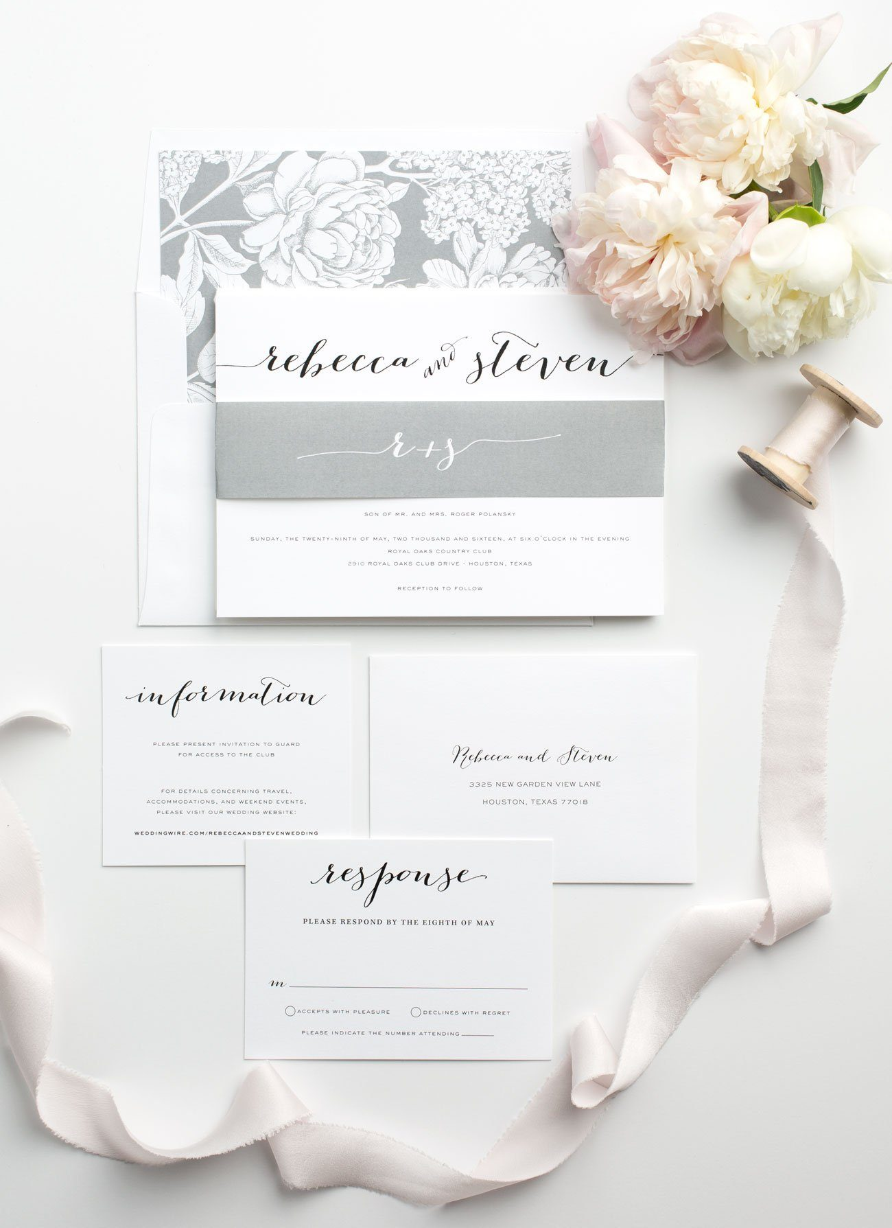 Modern Calligraphy Wedding Invitations in Gray with Floral Liner
