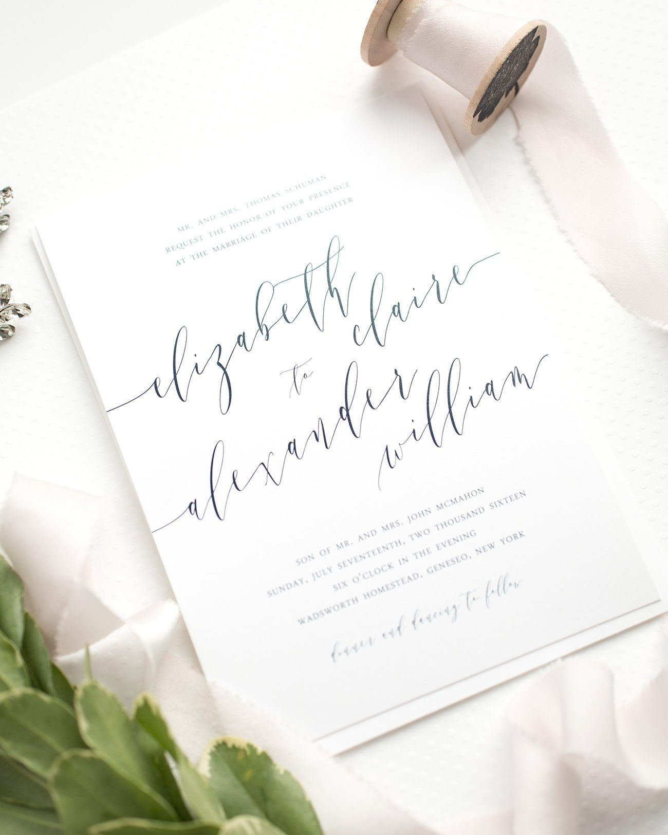 Simple Calligraphy Wedding Invitations in Navy Blue