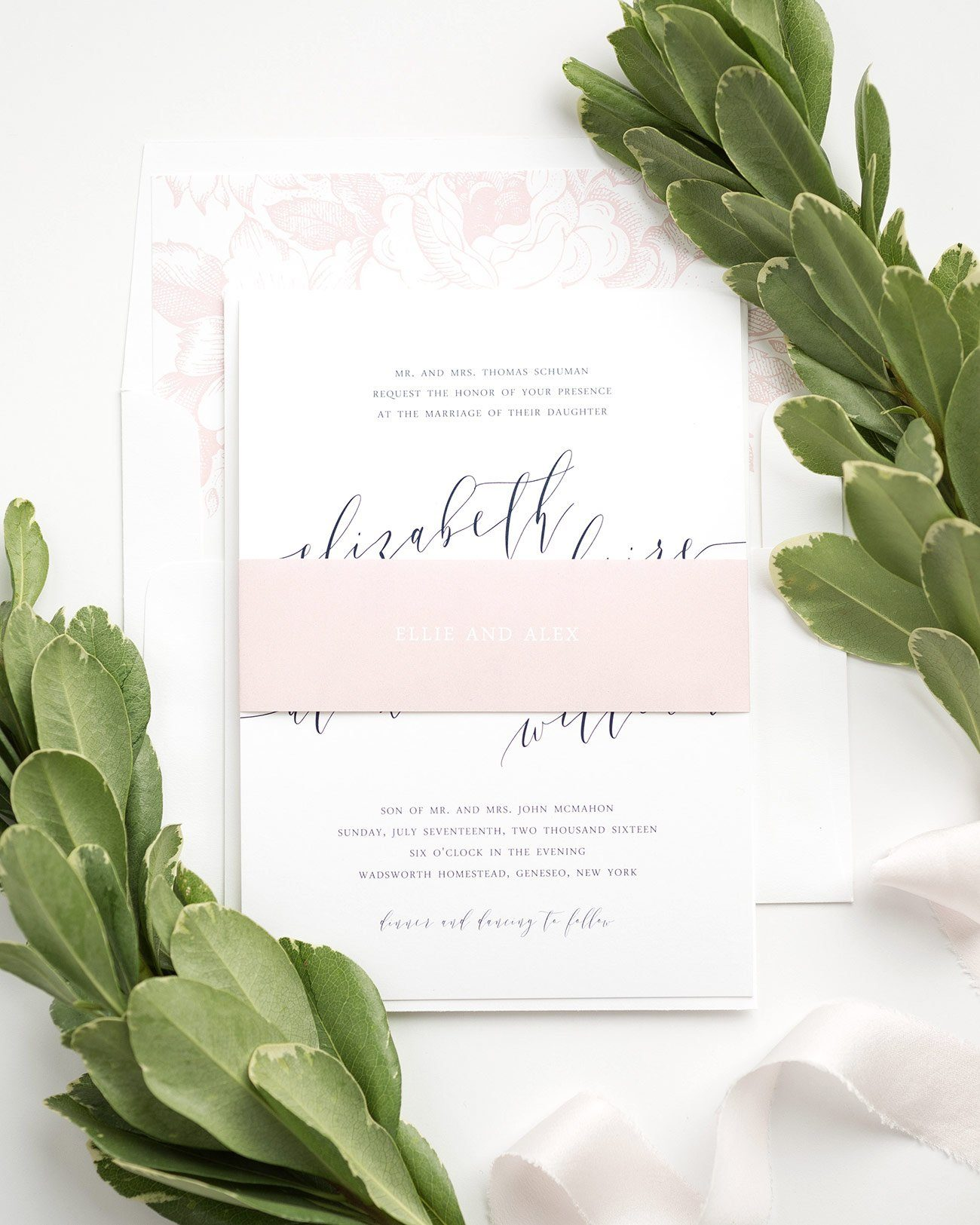Blush Pink Wedding Invitations with gorgeous calligraphy and garden rose floral liner