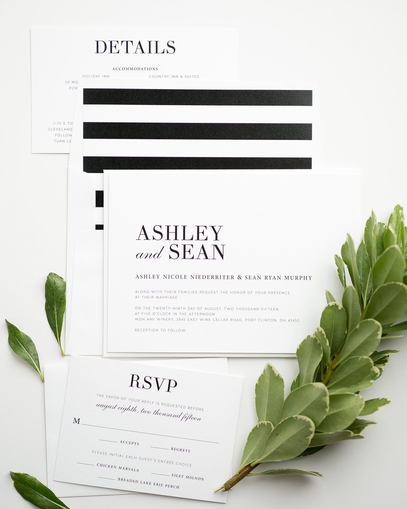 Glam Black and White Wedding Invitations with Stripes