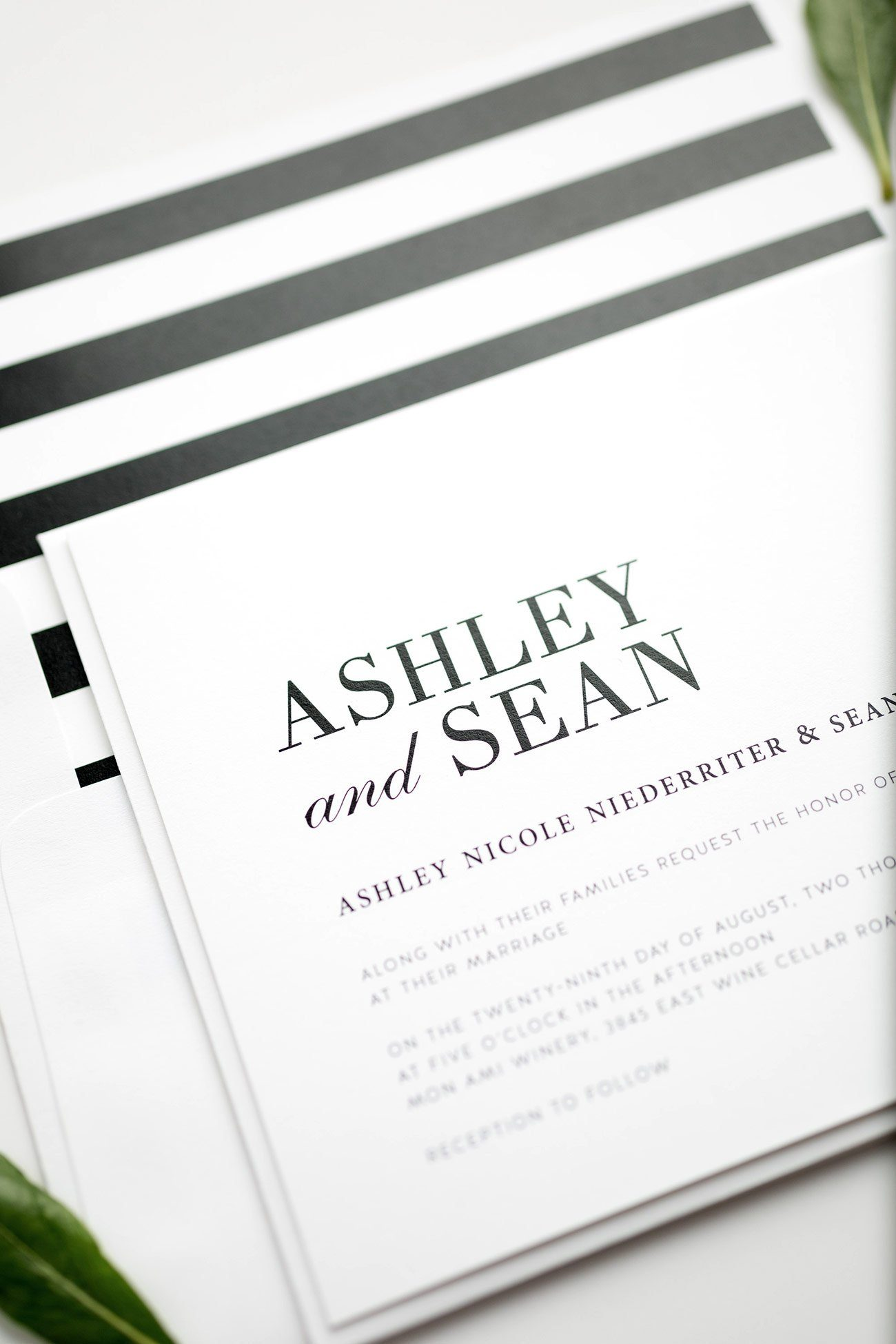 Modern Black and White Striped Wedding Invitations
