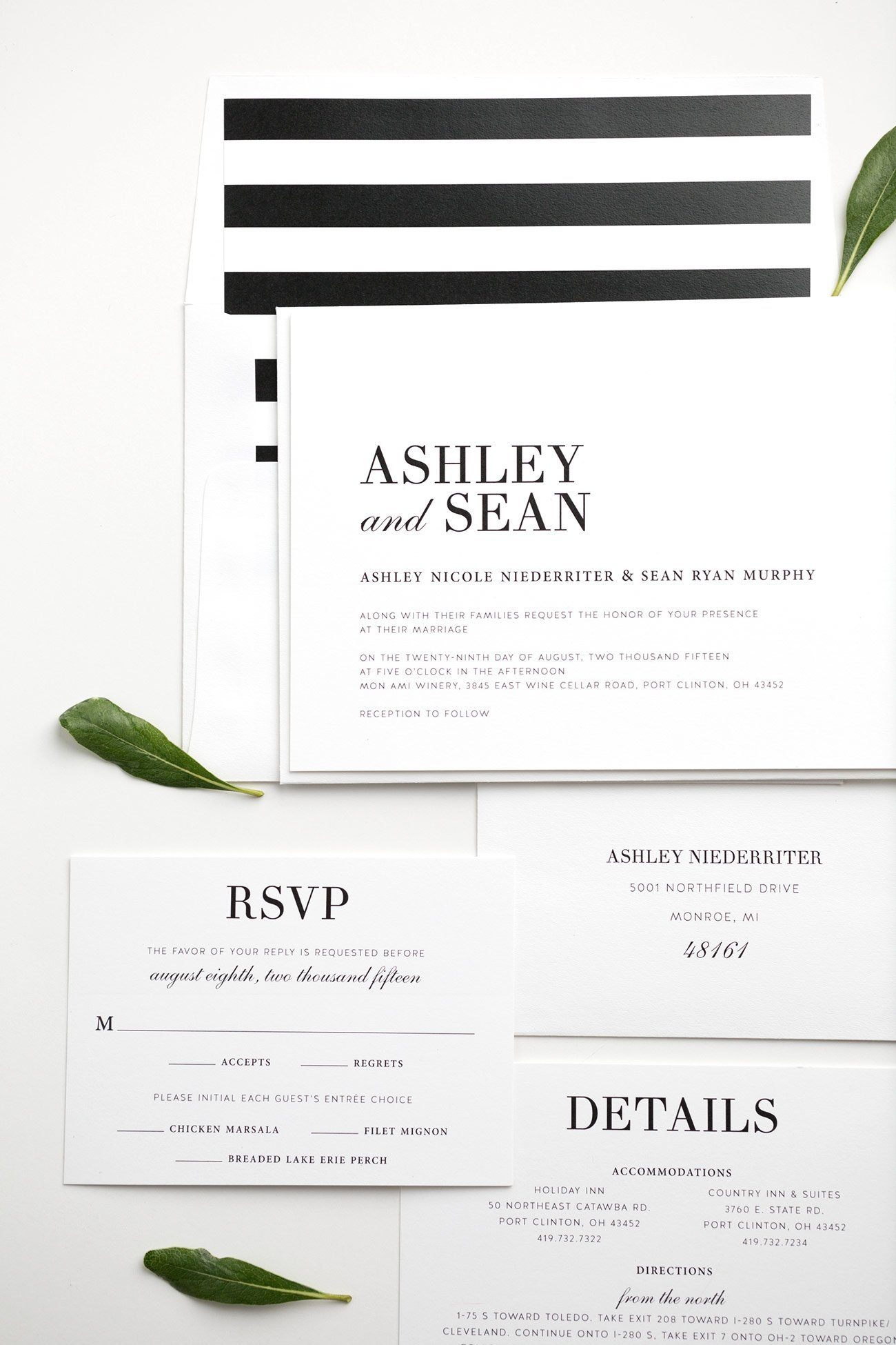 Glamorous Black and White Wedding Invitations with Stripe Accents