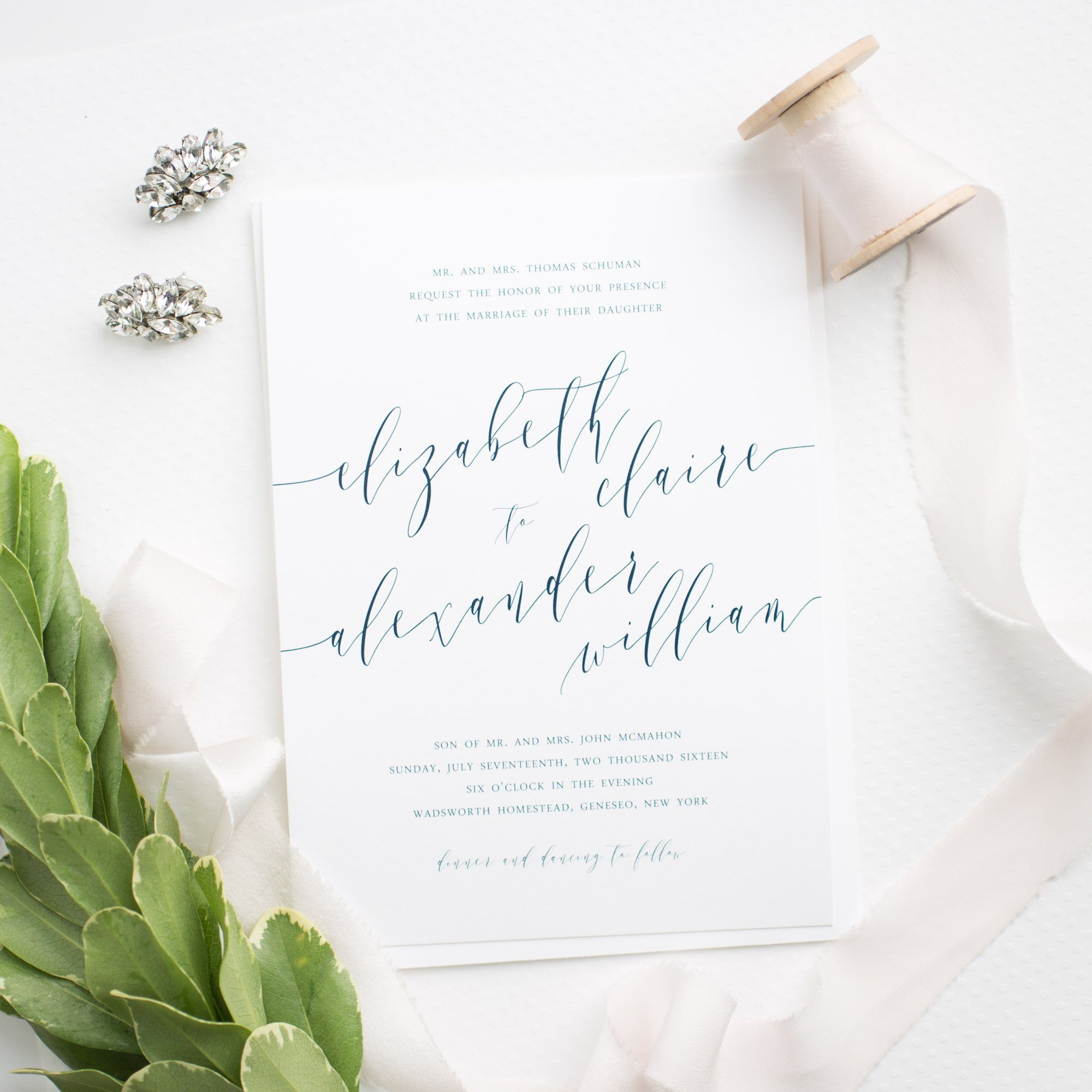 Romantic Calligraphy Wedding Invitations in Navy Blue